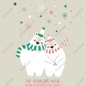 Vector Christmas Couple: Couple Of Cute Bears In Winter Vector