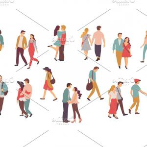 People Holding Hands Family Vector: Couples In Love Walking And Holding