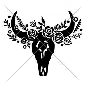 Bull Riders Vector Art DXF: Cow Skull Bull Head With Flowers