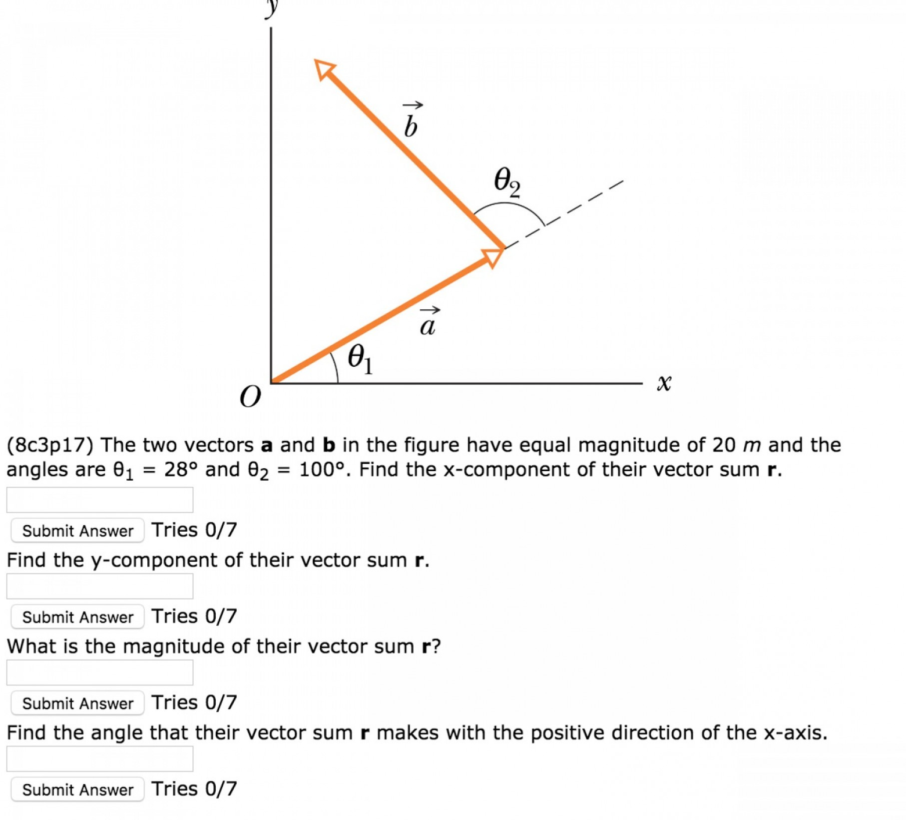 Find Vectors: Cp Two Vectors B Figure Equal Magnitude M Angles Find X Component Vec Q