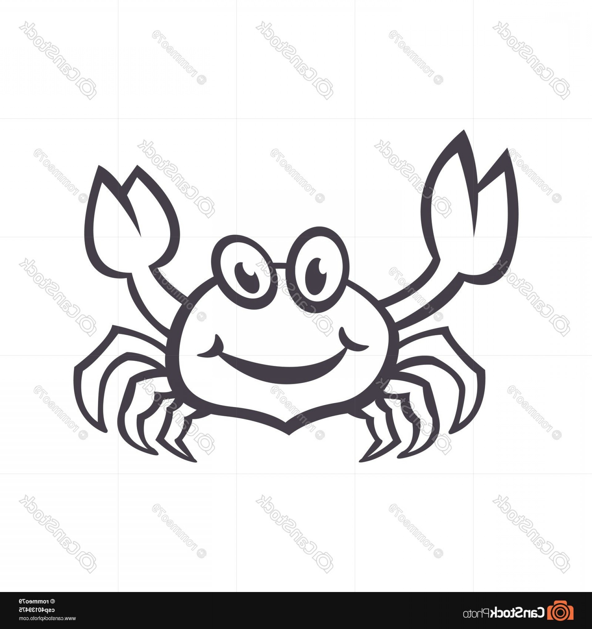 Crab Vector Black: Crab Vector Sea Food Icon Smile Flat