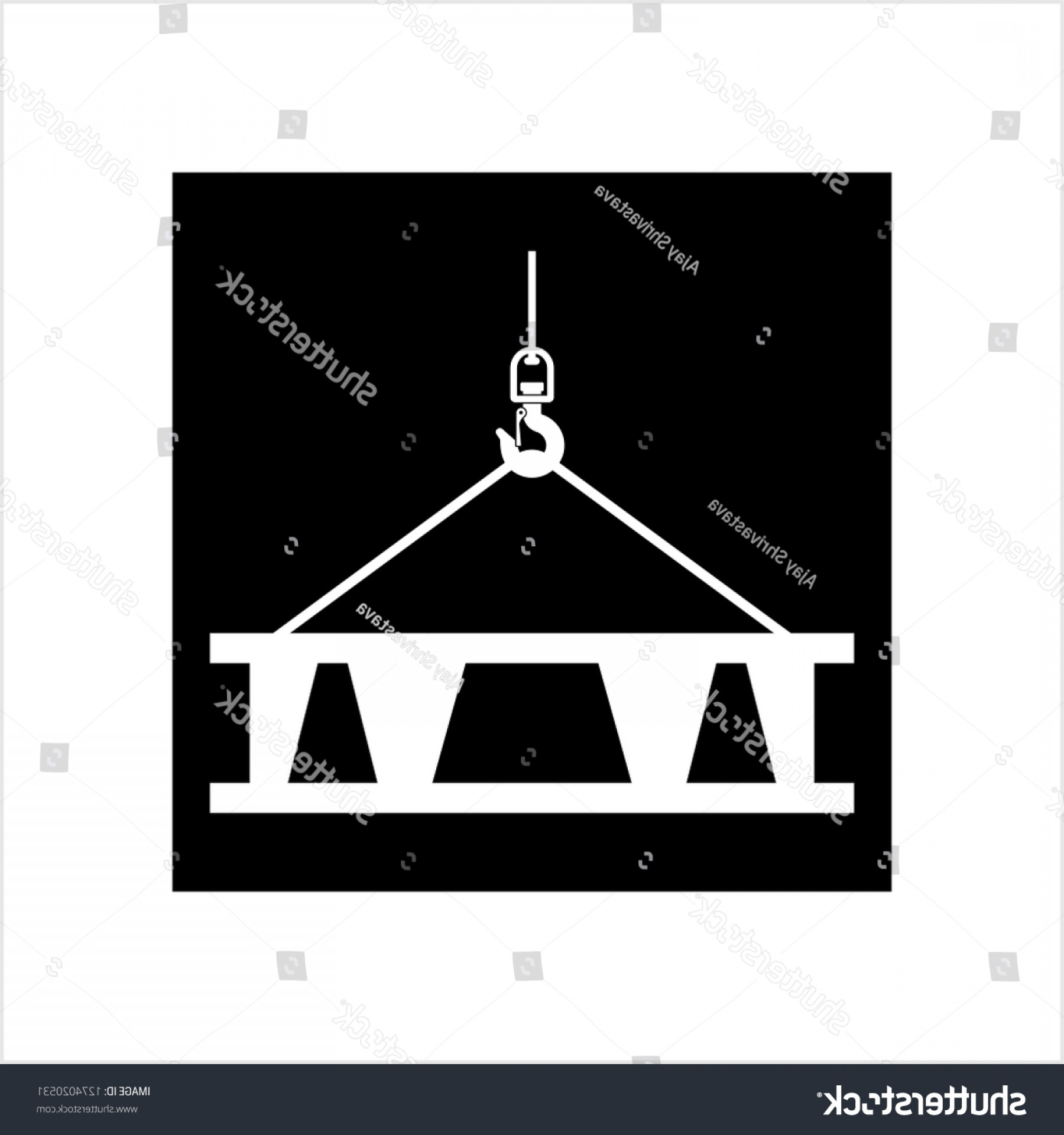 Tow Hook Vector Art: Crane Hook Icon Tow Holding Concrete