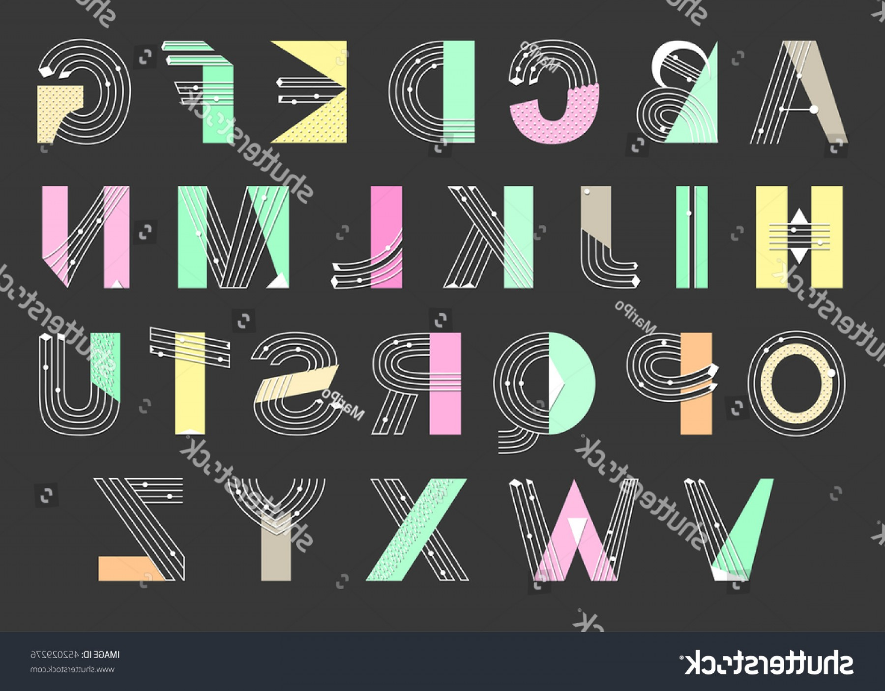 Decorative Font Vector Illustration: Creative Geometric Alphabet Postmodernist Design Typeface