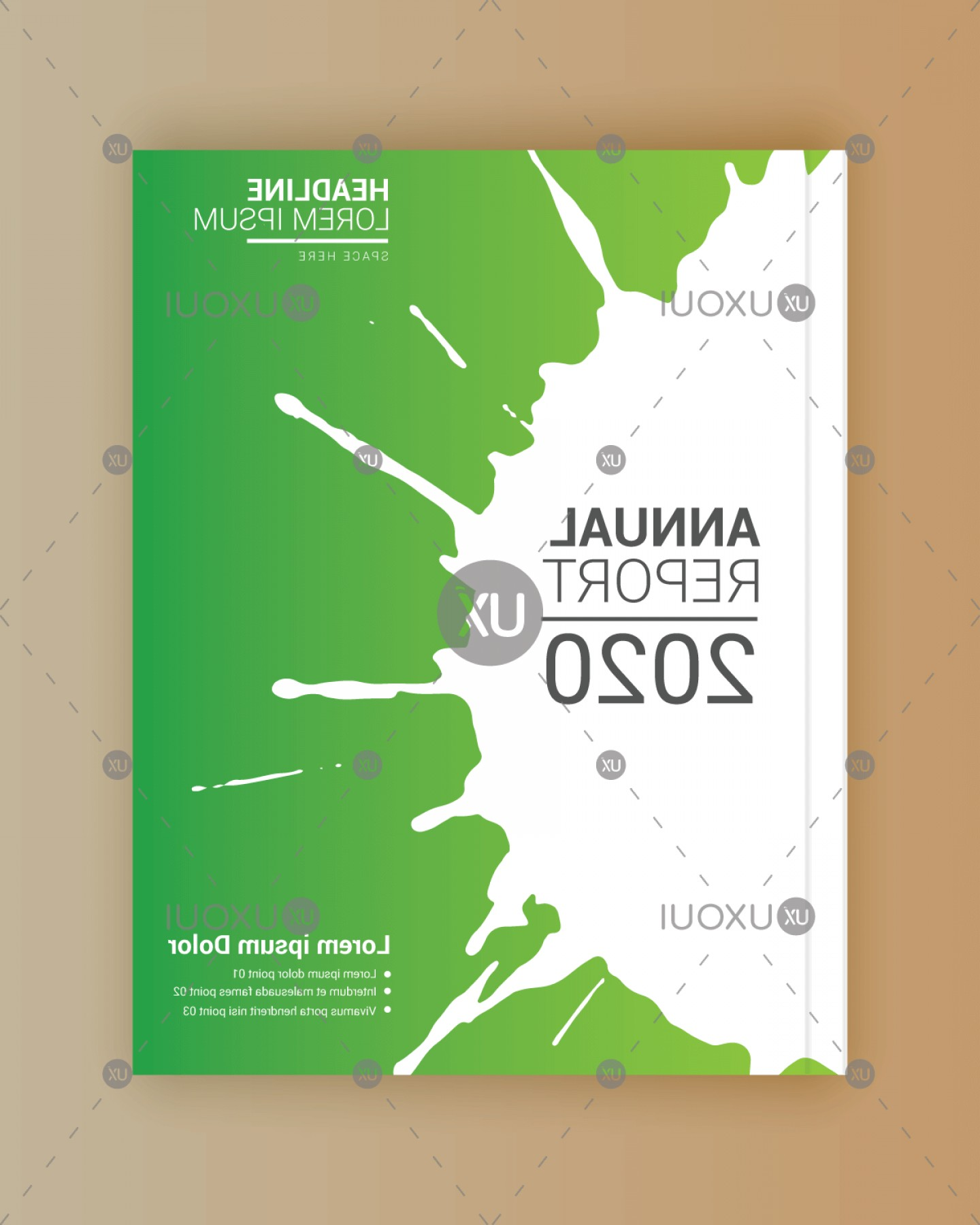 Green And White Vector: Creative Green White Paint Stroke Book Cover Design Template Vector