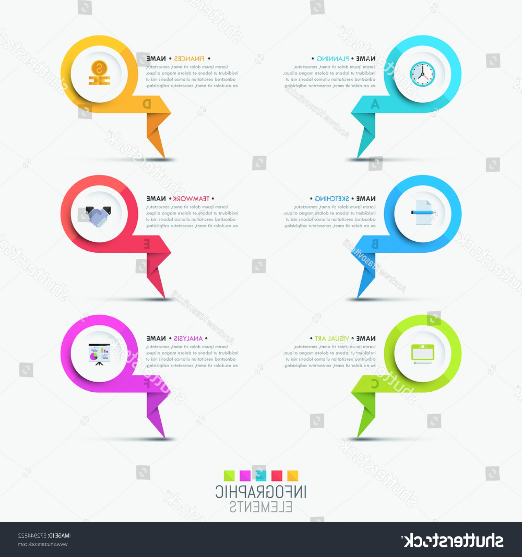 Vector Round Name List: Creative Infographic Design Template Multicolored