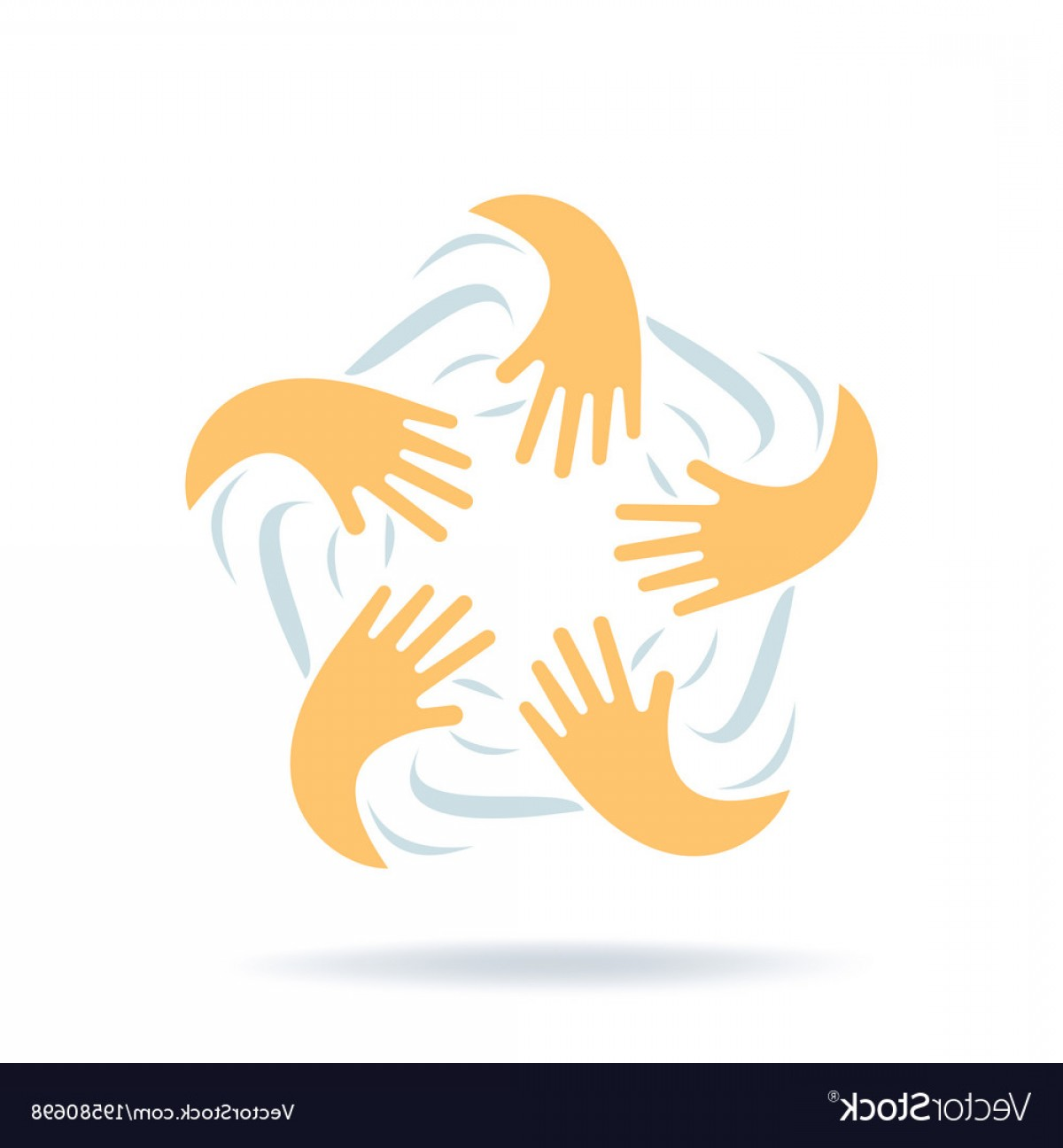 Friendship Symbol Vector: Creative Logo With Hands Connection Friendship Vector