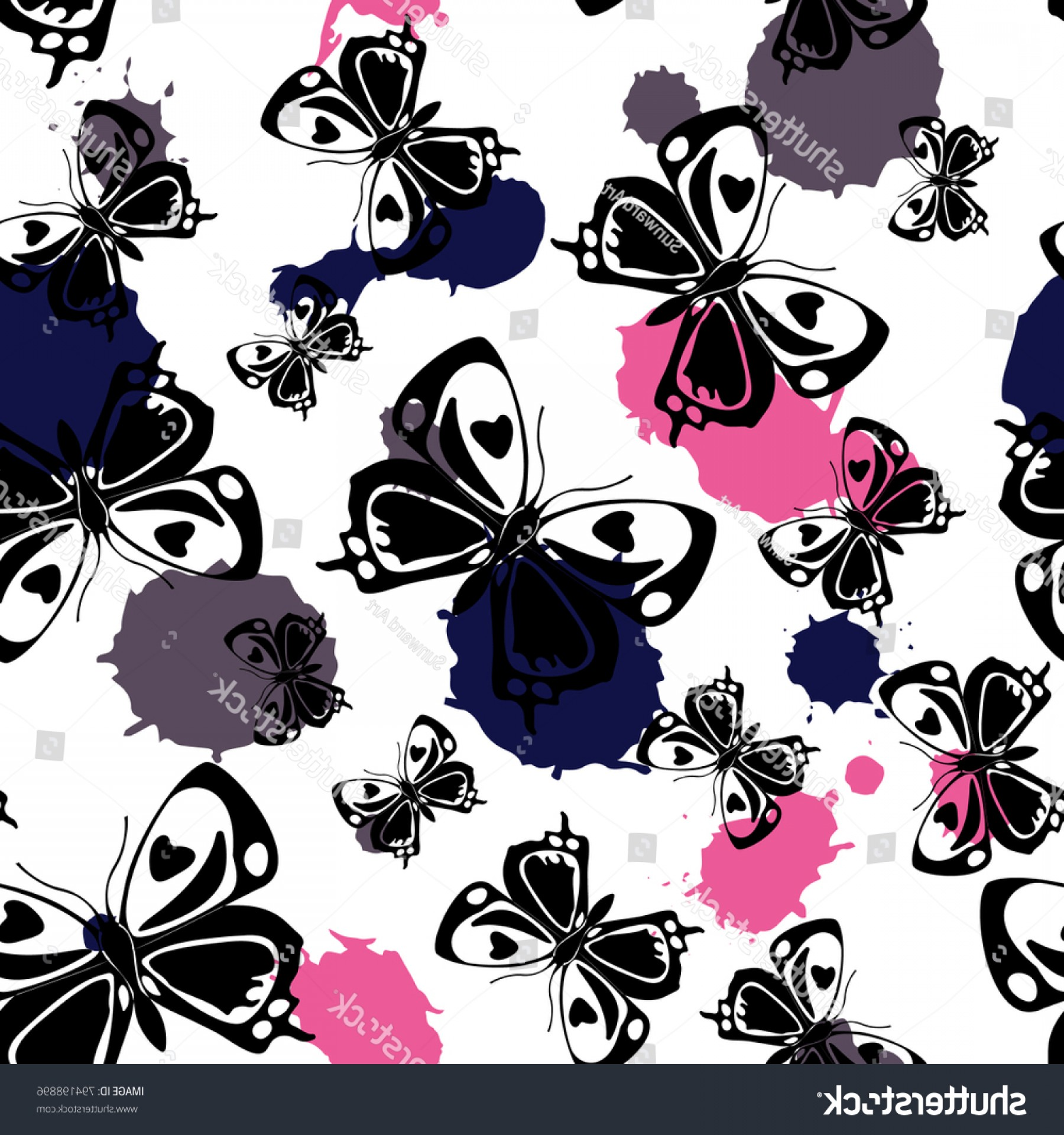 Purple Butterfly Wallpaper Vector: Creative Seamless Butterfly Cloth Texture Pink