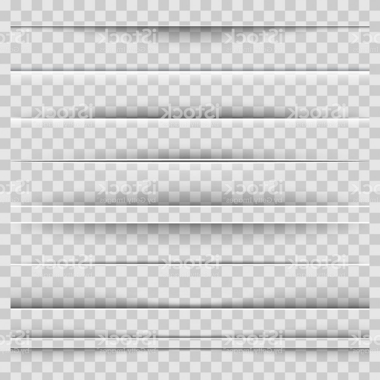 Vector Line Dividers Transparent Backgrounds: Creative Vector Illustration Of Realistic Paper Shadow Dividers Isolated On Gm
