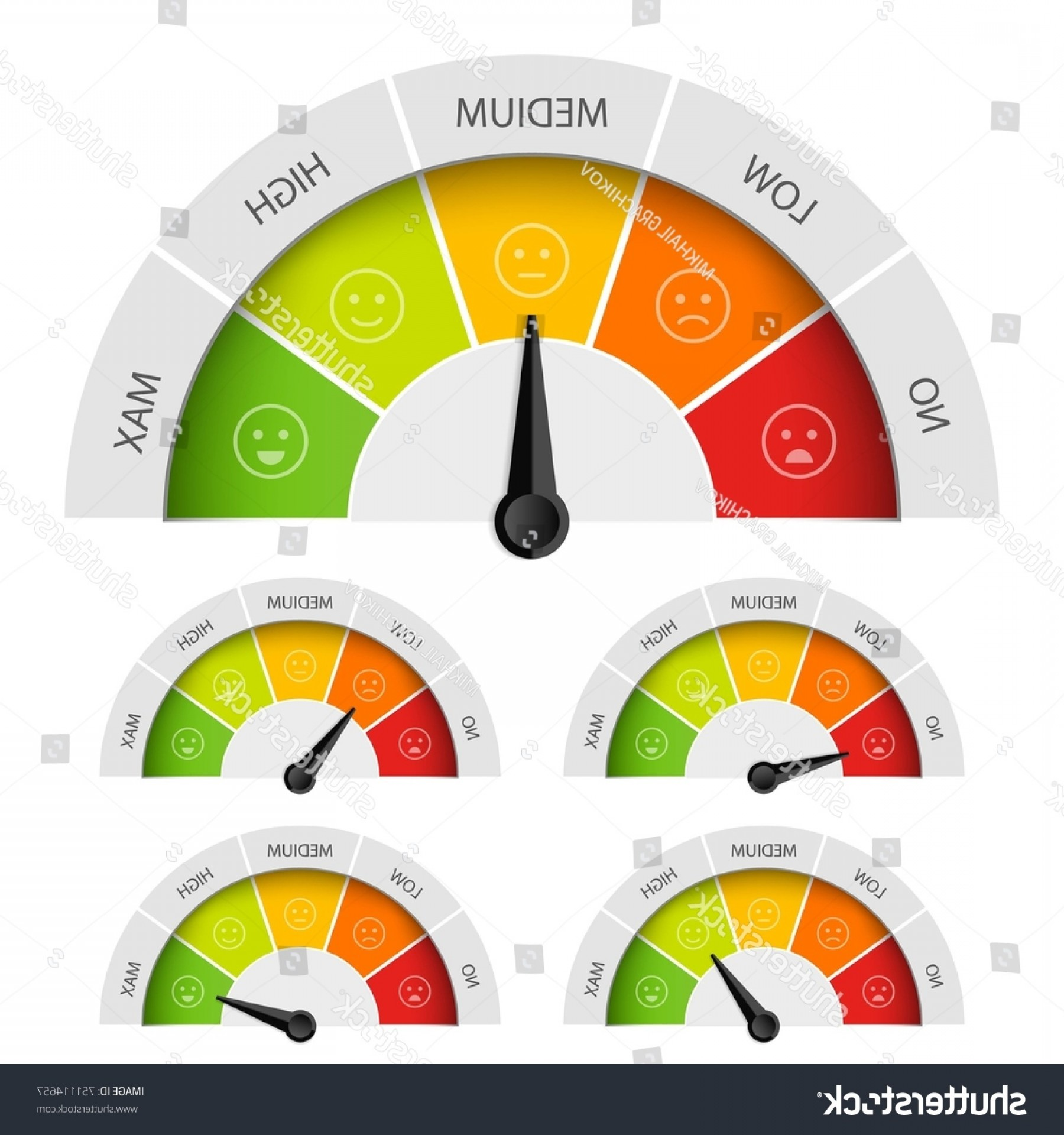 Low High Meter Vector: Creative Vector Illustration Rating Customer Satisfaction