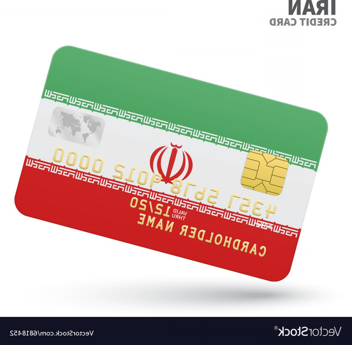 Vector One Debit Check: Credit Card With Iran Flag Background For Bank Vector