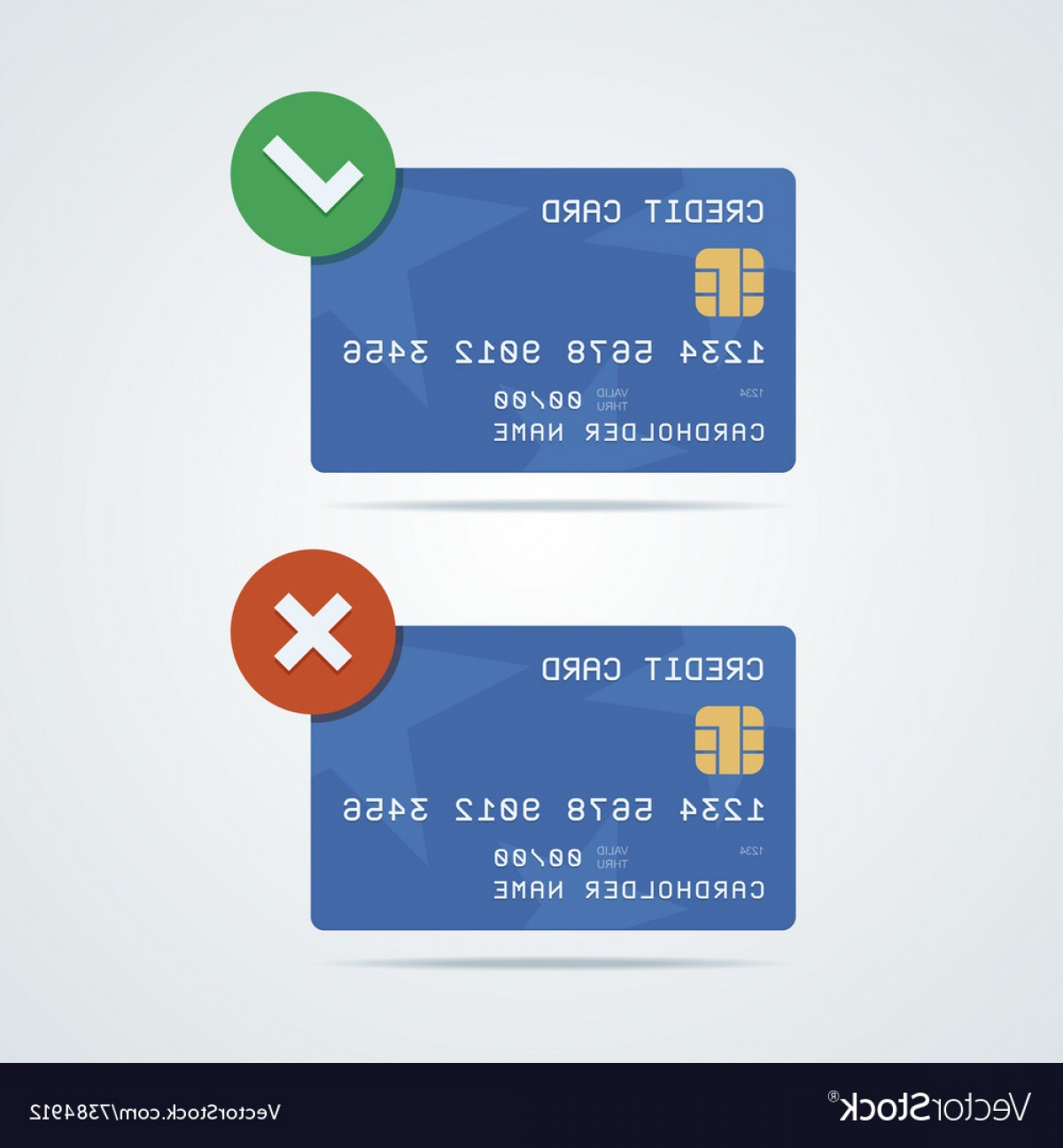 Vector One Debit Check: Credit Debit Card With Chip Number Cardholder Vector