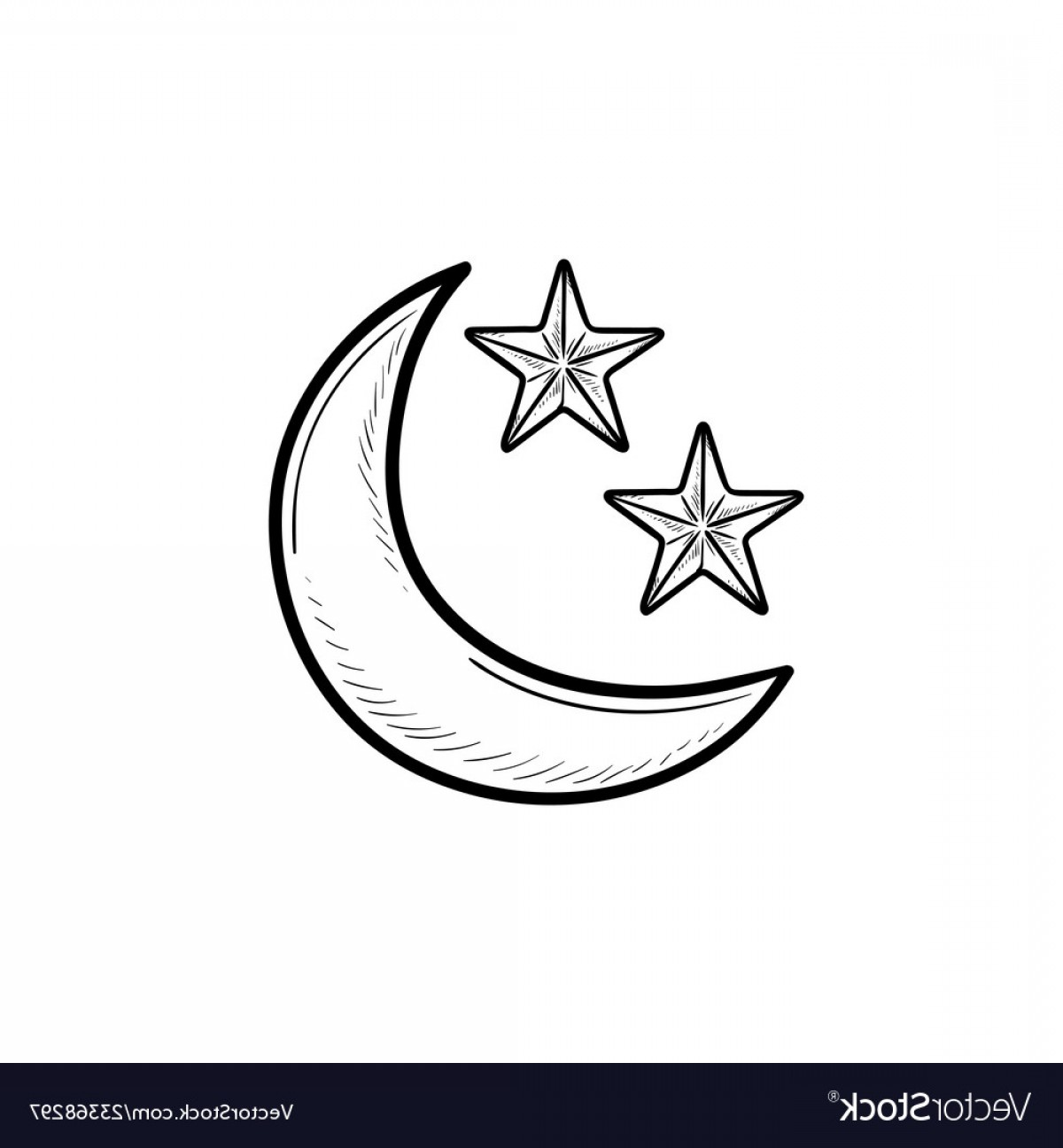 Star And Crescent Moon Vector: Crescent Moon And Stars Hand Drawn Outline Doodle Vector