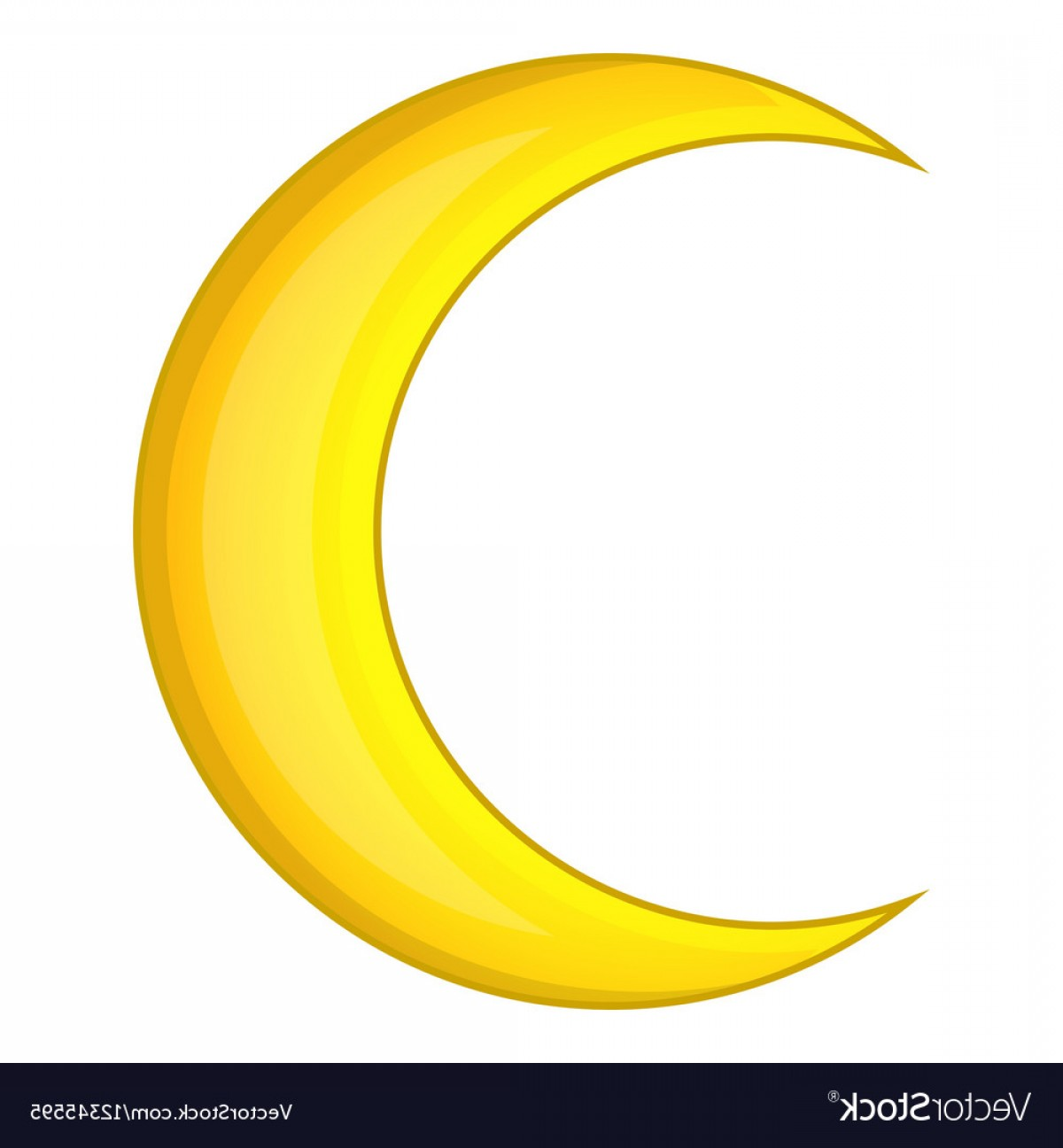 Cresent Moon Vector: Crescent Moon Icon Cartoon Style Vector