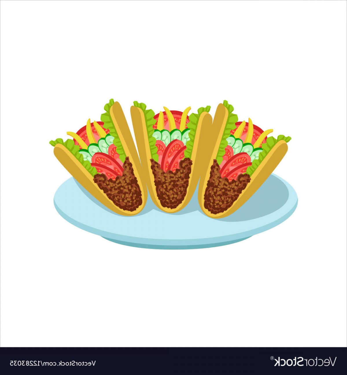 Steak Taco Vector Art: Crispy Taco Traditional Mexican Cuisine Dish Food Vector