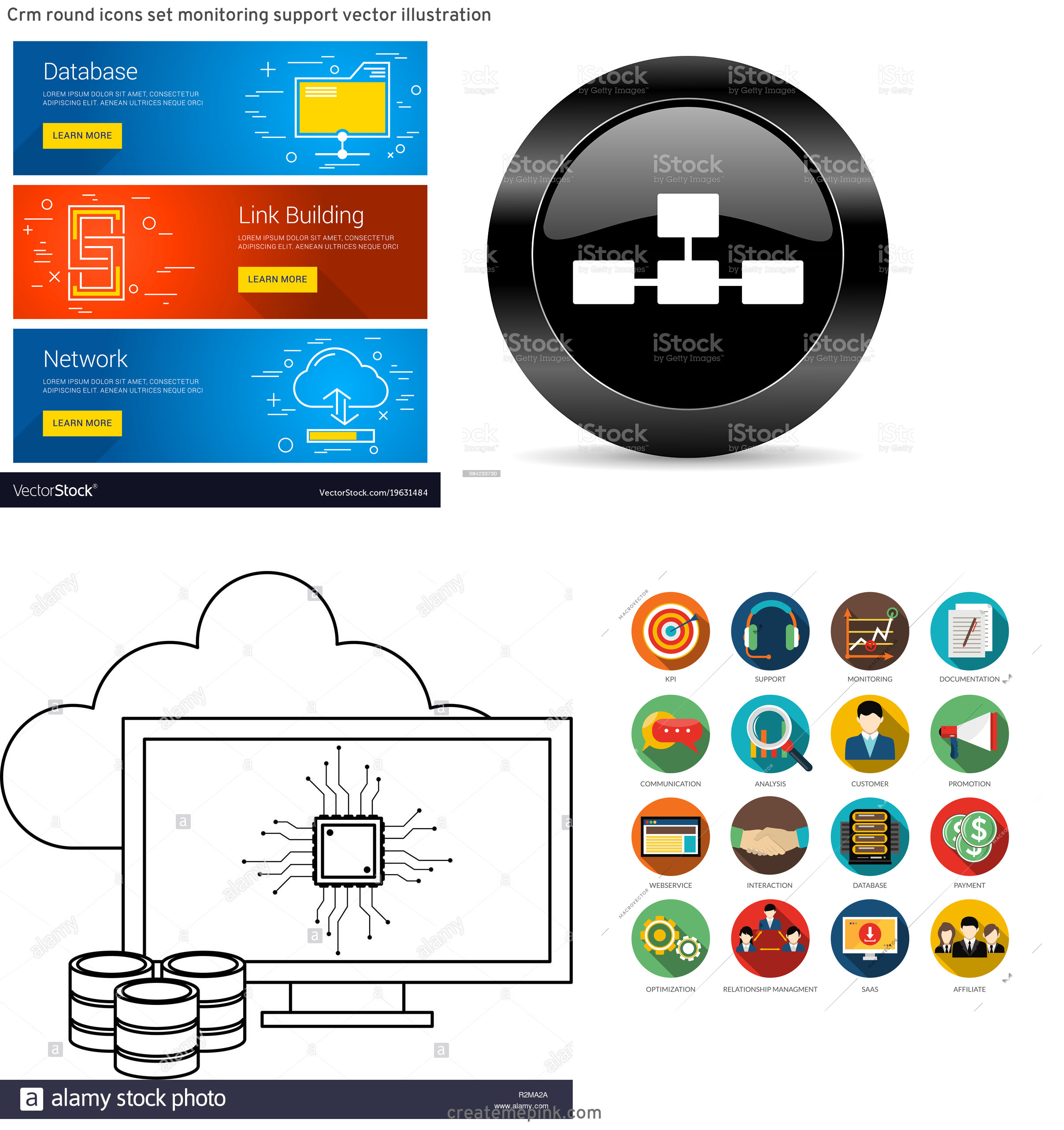 Database Vector Art: Crm Round Icons Set Monitoring Support Vector Illustration