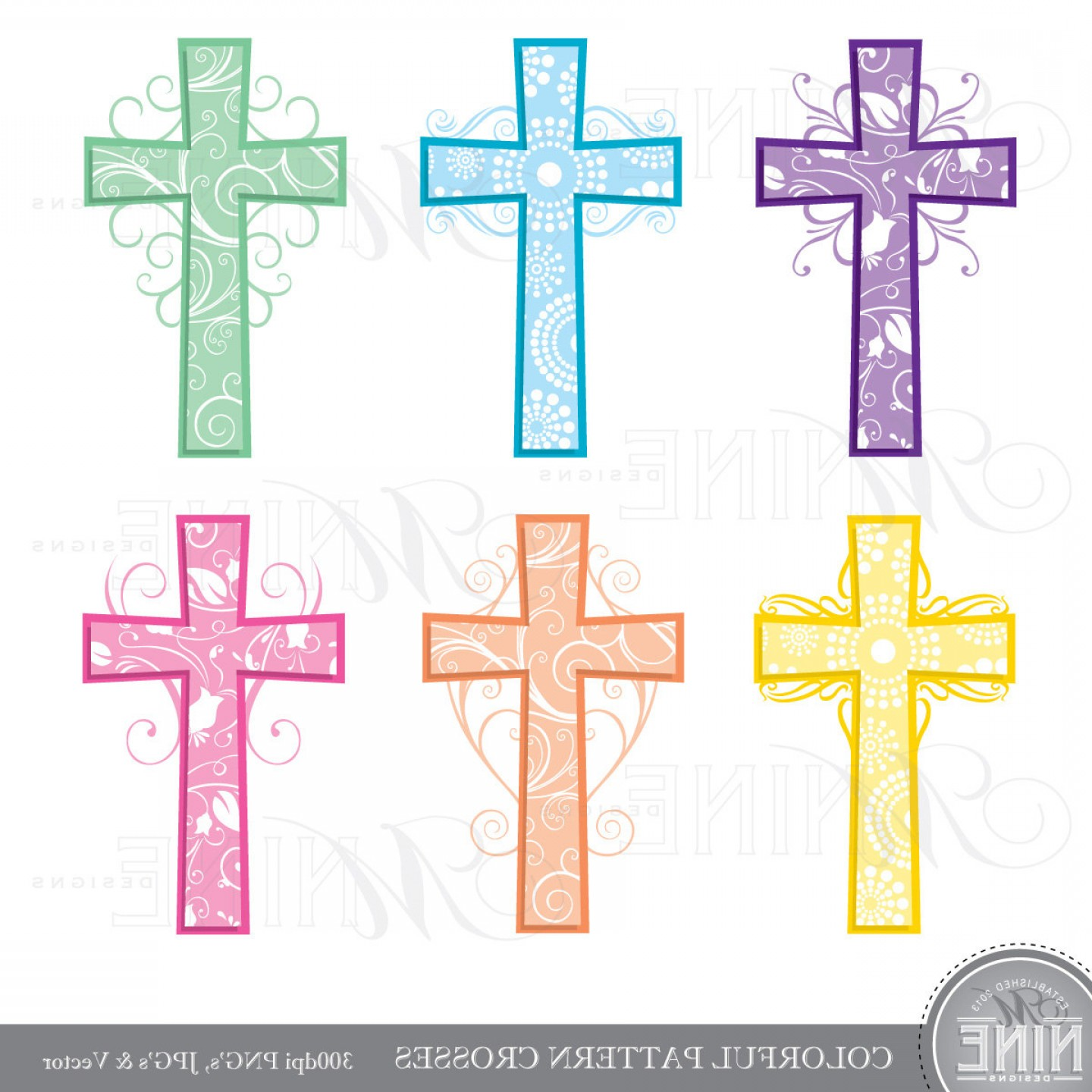 Cool Cross Vector Clip Art: Cross Clip Art Colorful Pattern Crosses