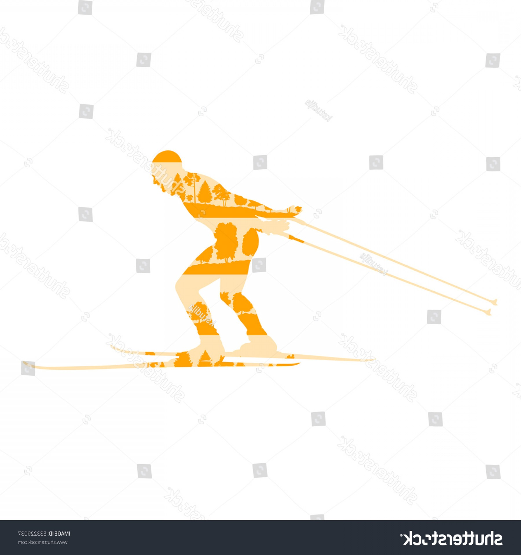 Transparent PNG Vector Skier: Cross Country Skiing Man Vector Background