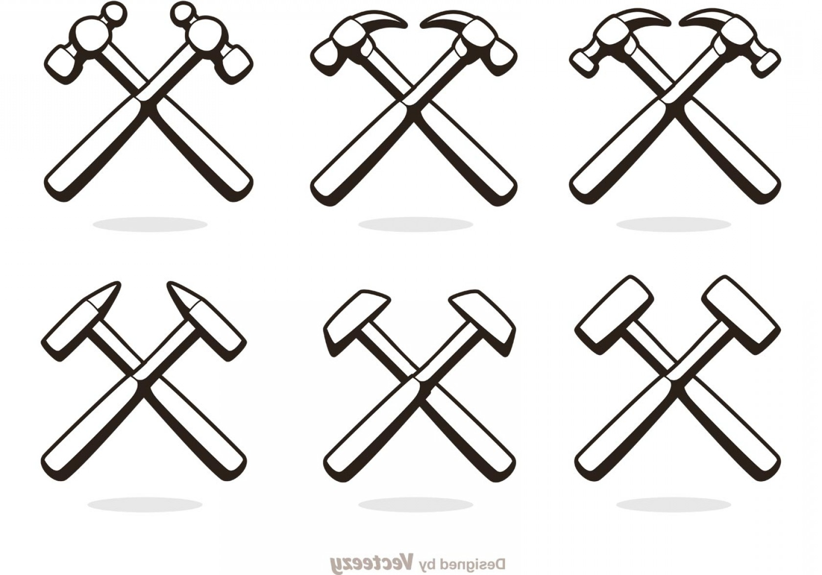 Nail Cross Vector: Cross Hammer Icons Vector Pack
