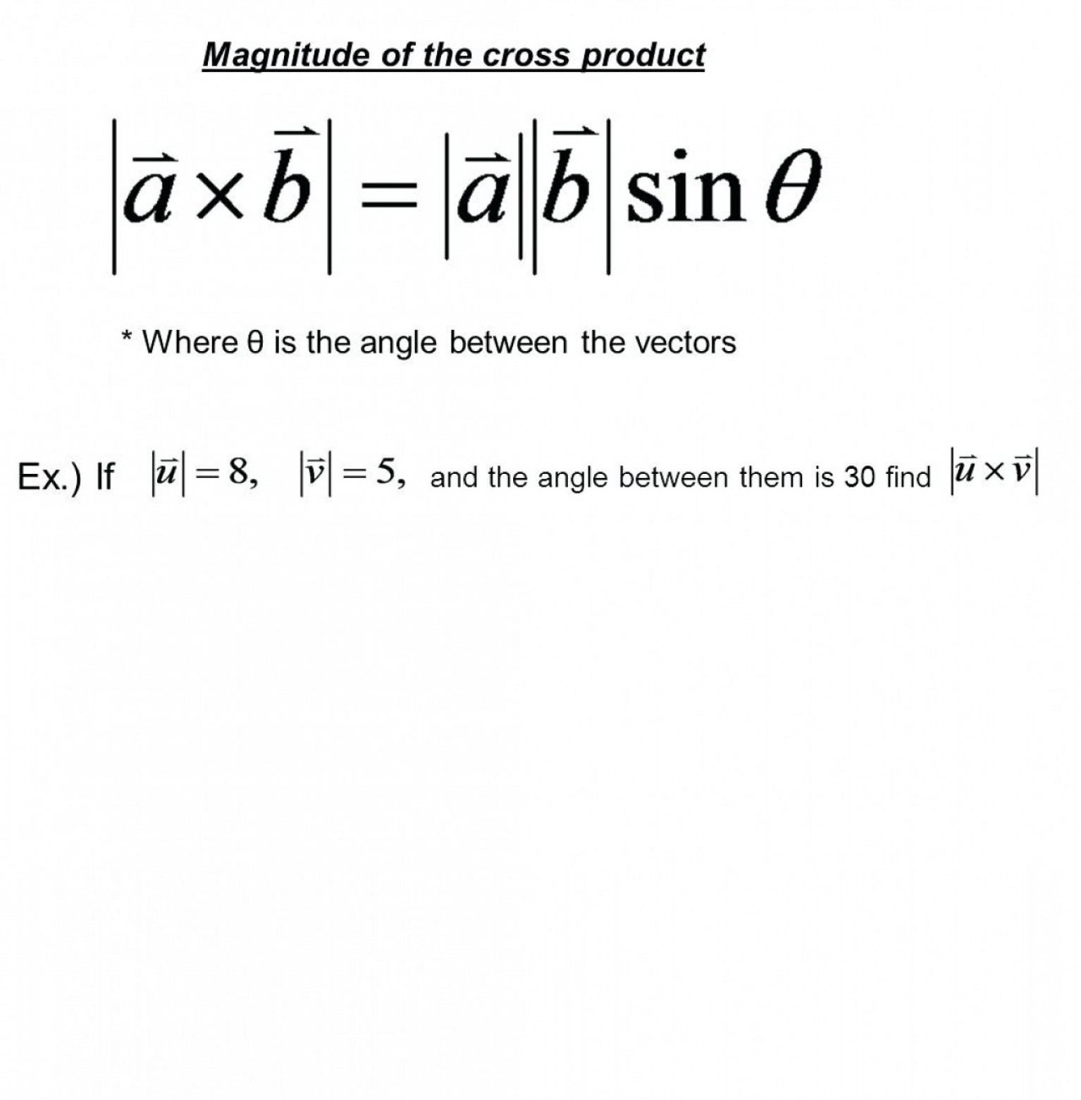 Cross Product Of Vectors 3: Cross Product Of Two Vectors Calculator Math Dot Product Equation Math Playground