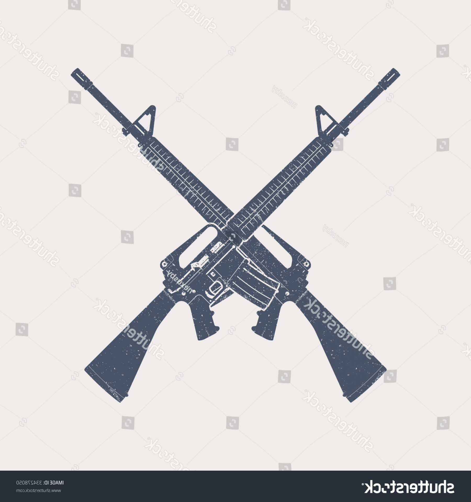 Hunting Rifle Vector Cross: Crossed Assault Rifles Automatic Firearm Guns