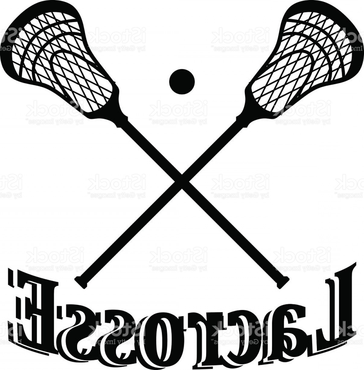 Lacrosse Stick Vector: Crossed Lacrosse Stick And Ball Vector Illustration Gm