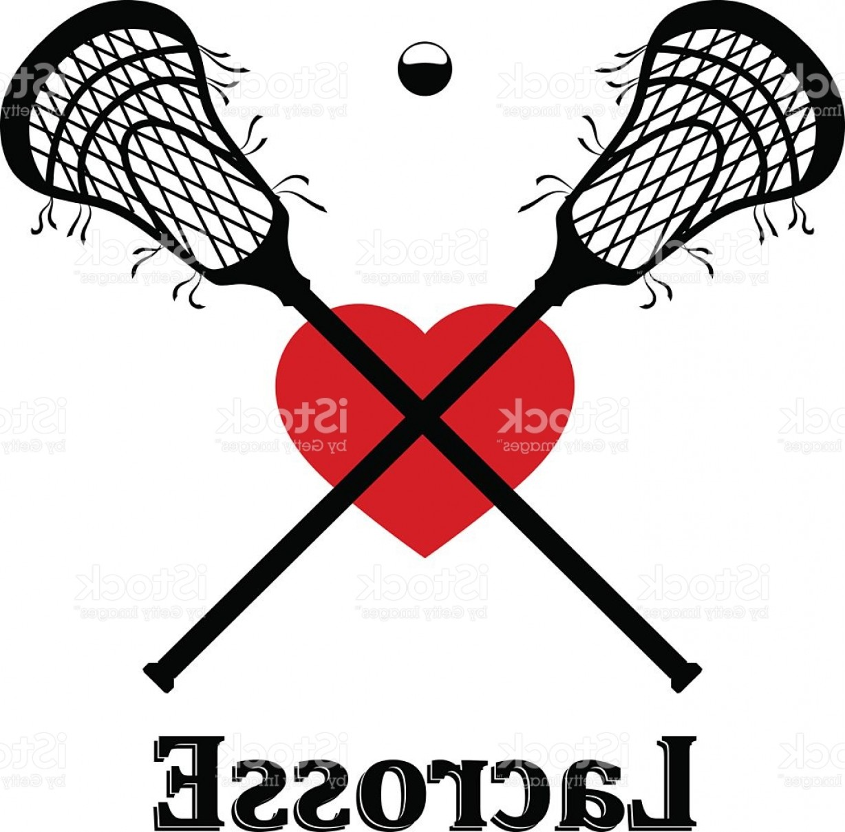 Lacrosse Stick Vector: Crossed Lacrosse Stick Ball And Heart Vector Illustration Gm
