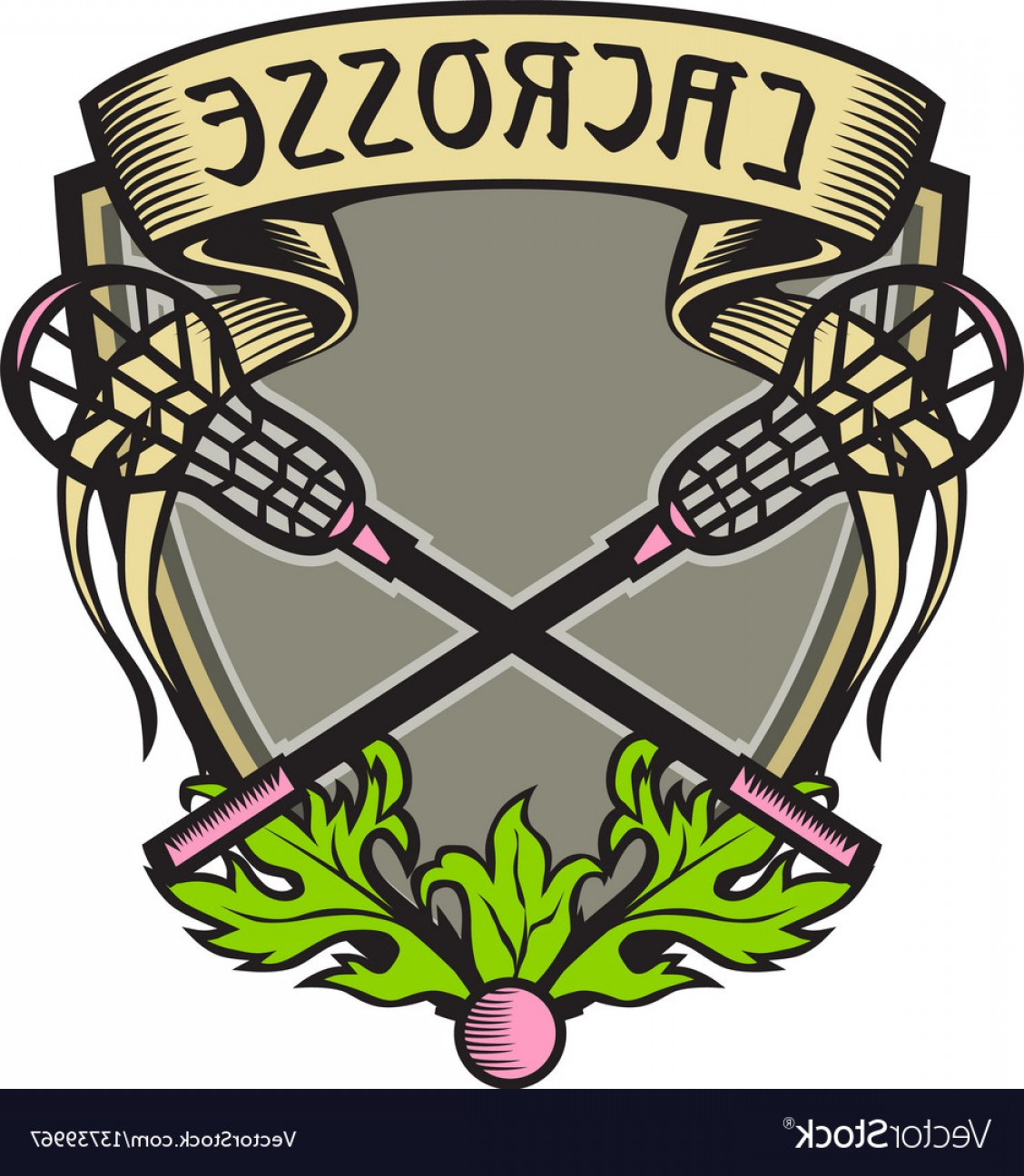Lacrosse Stick Vector: Crossed Lacrosse Stick Coat Of Arms Crest Woodcut Vector