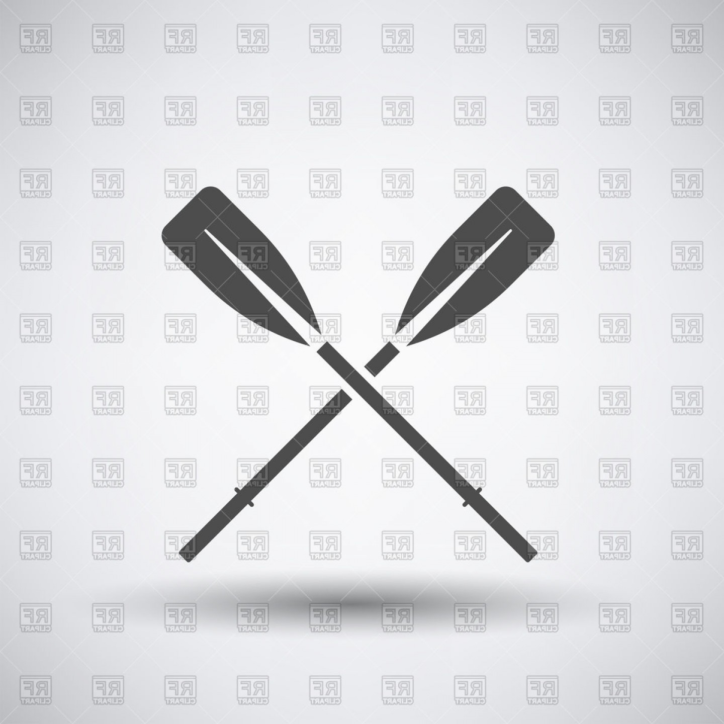 Paddle Vector Art: Crossed Paddles Icon Vector Clipart