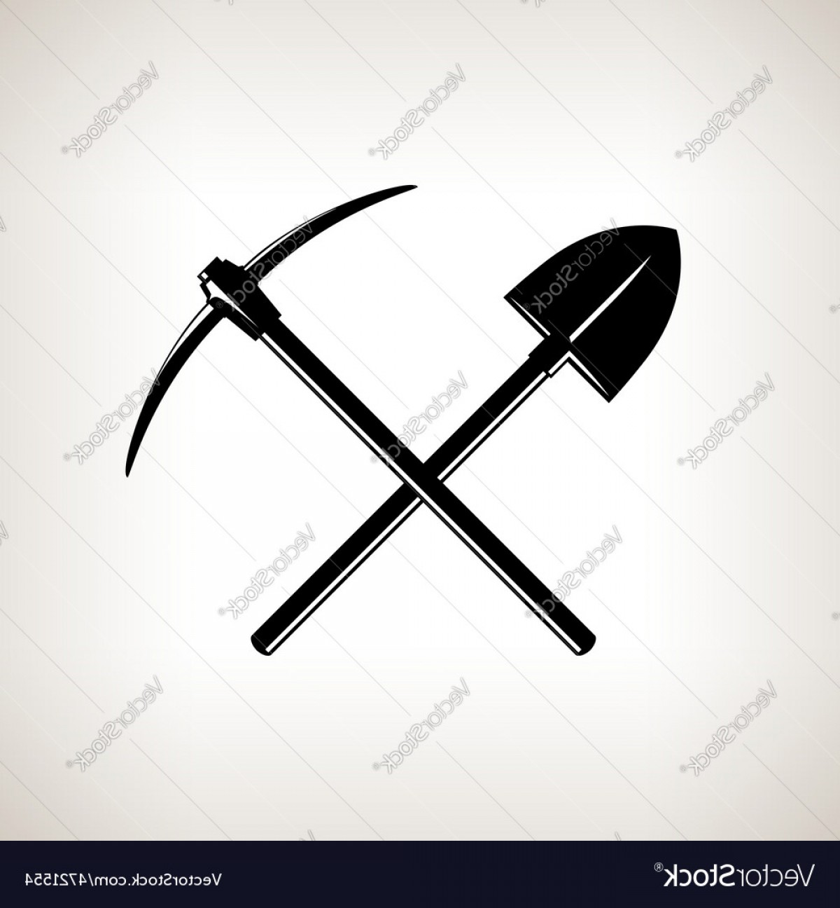 Shovel Vector: Crossed Shovel And Pickaxe Vector