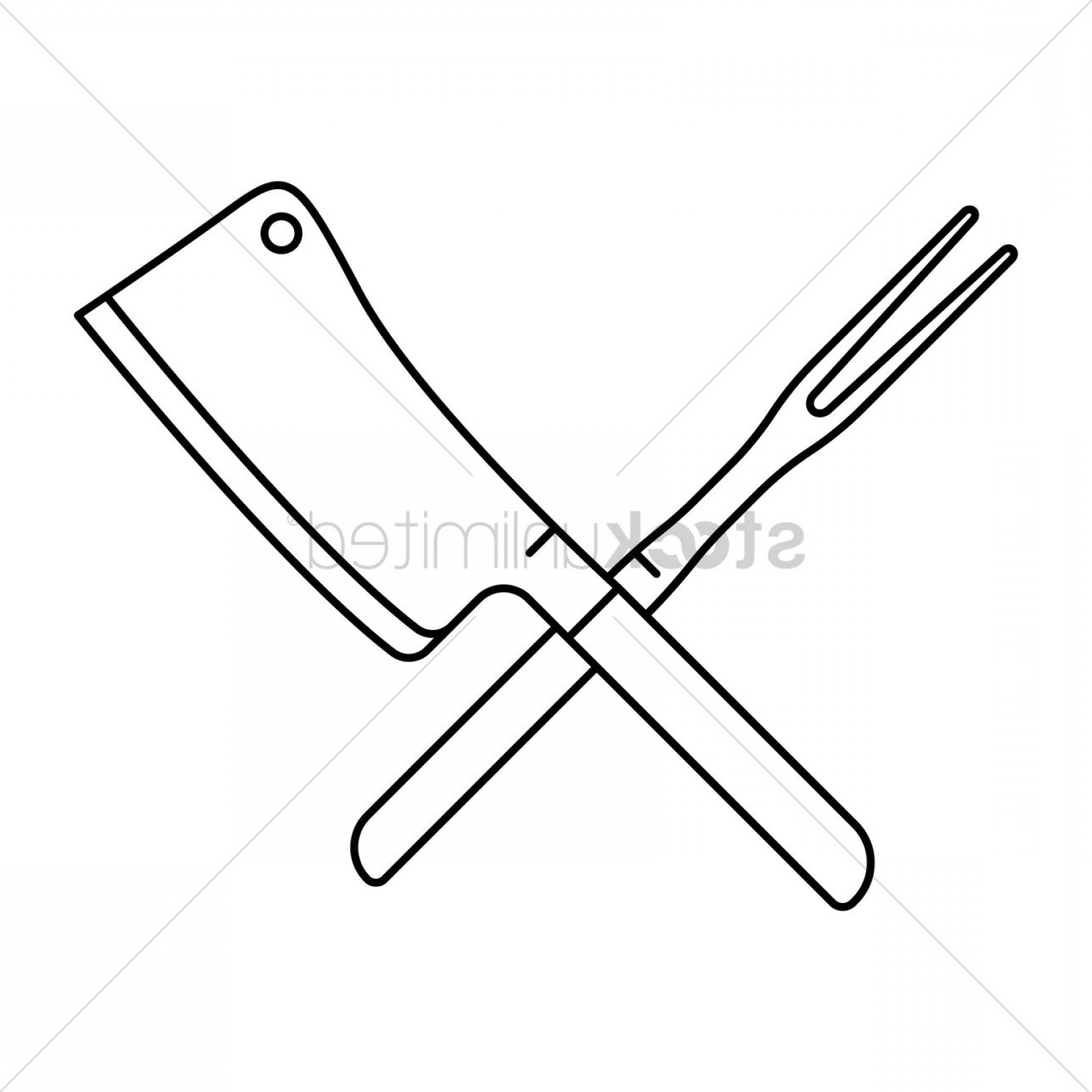 Butcher Knife Vector: Crossed Steak Fork And Butcher Knife