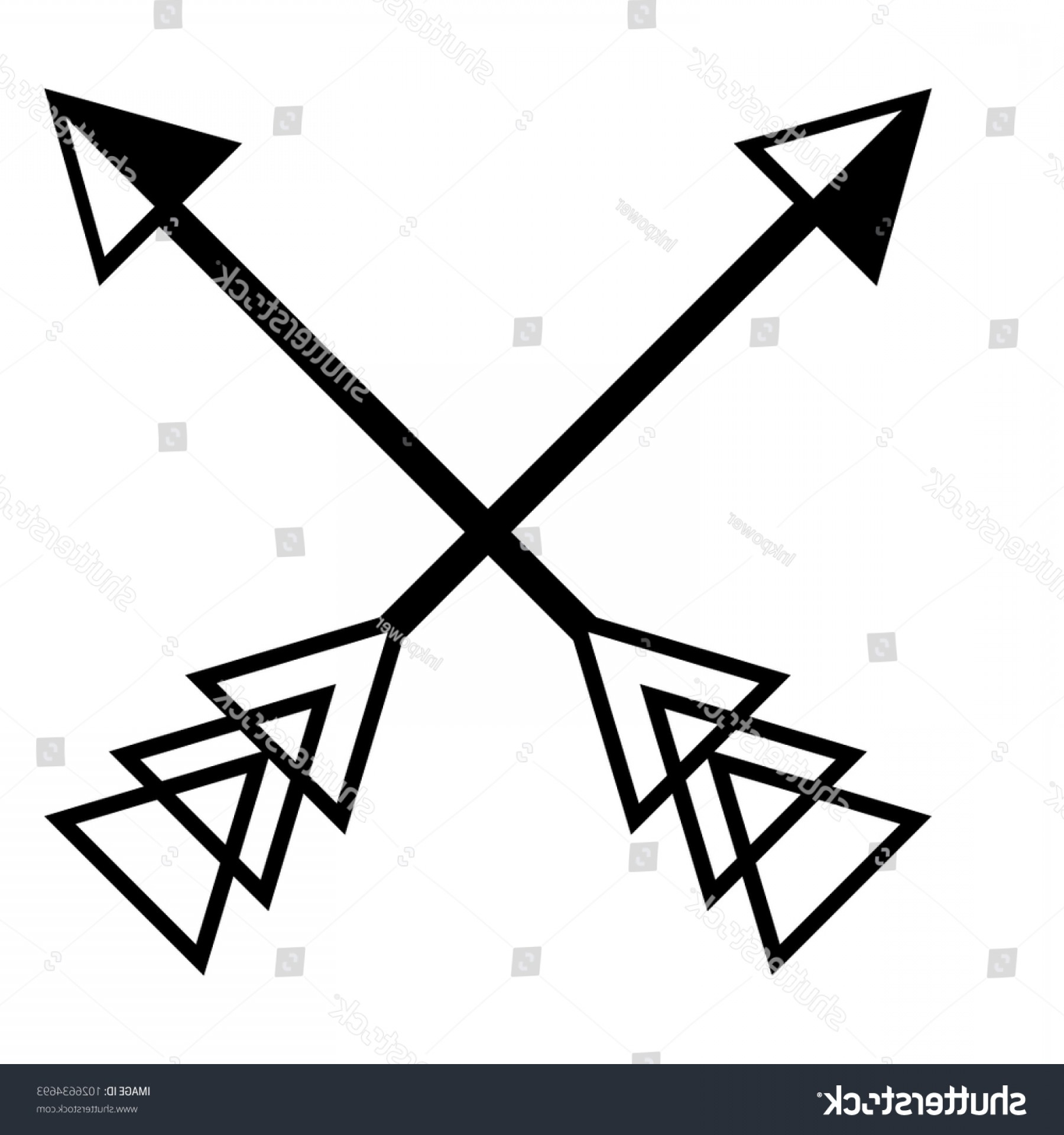 Vector Boho Arrow Strength: Crossing Arrows Graphic Vector Design