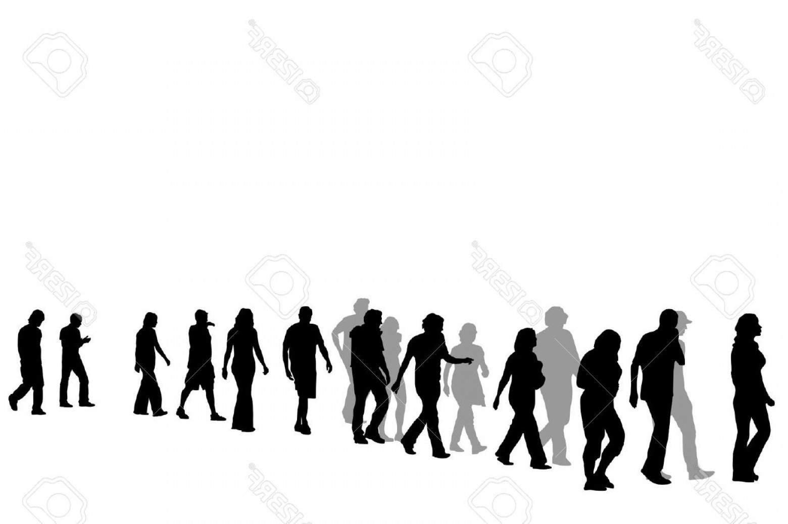 Vector People Free Clip Art: Crowd Of People Walking Clipart