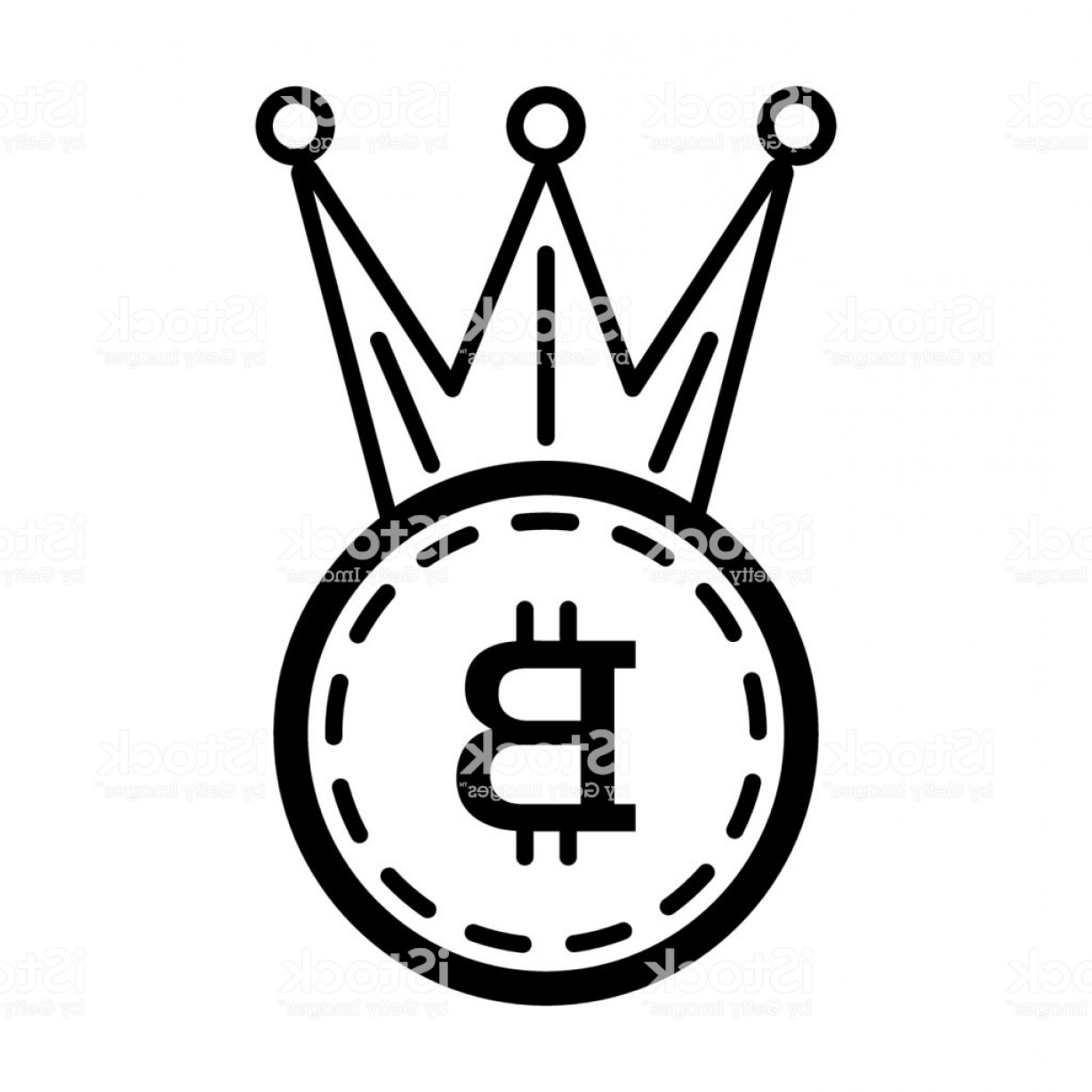 Crown White Outline Vector: Crown Bitcoin Line Icon Vector Illustration Isolated On White Outline Style Design Gm