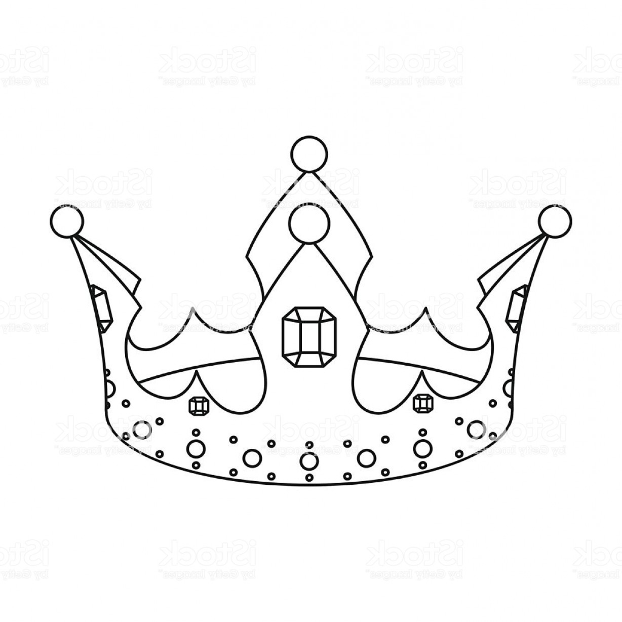 Crown White Outline Vector: Crown Icon In Outline Style Isolated On White Background Hats Gm
