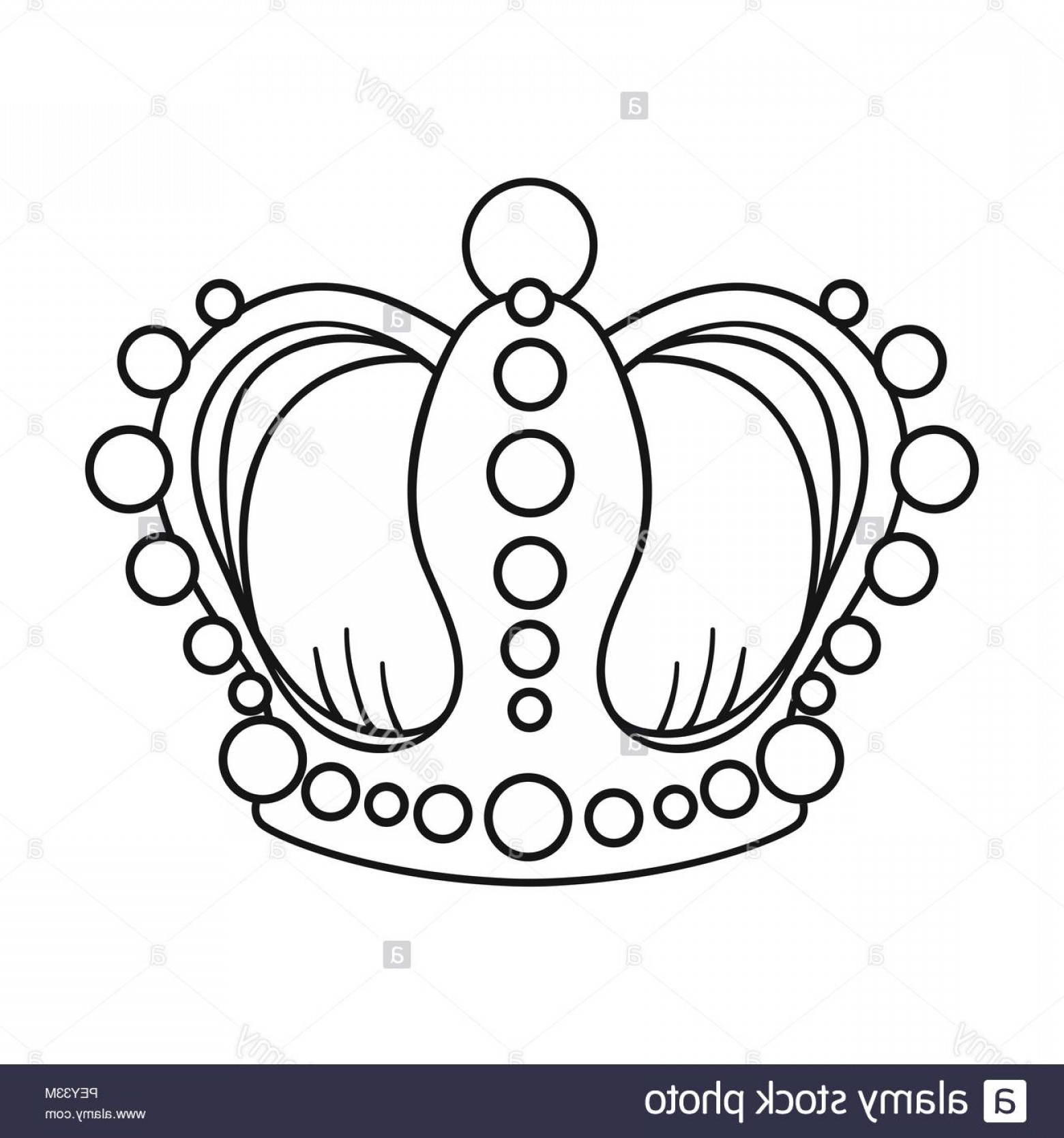 Crown White Outline Vector: Crown Icon In Outline Style Isolated On White Background Museum Symbol Vector Illustration Image