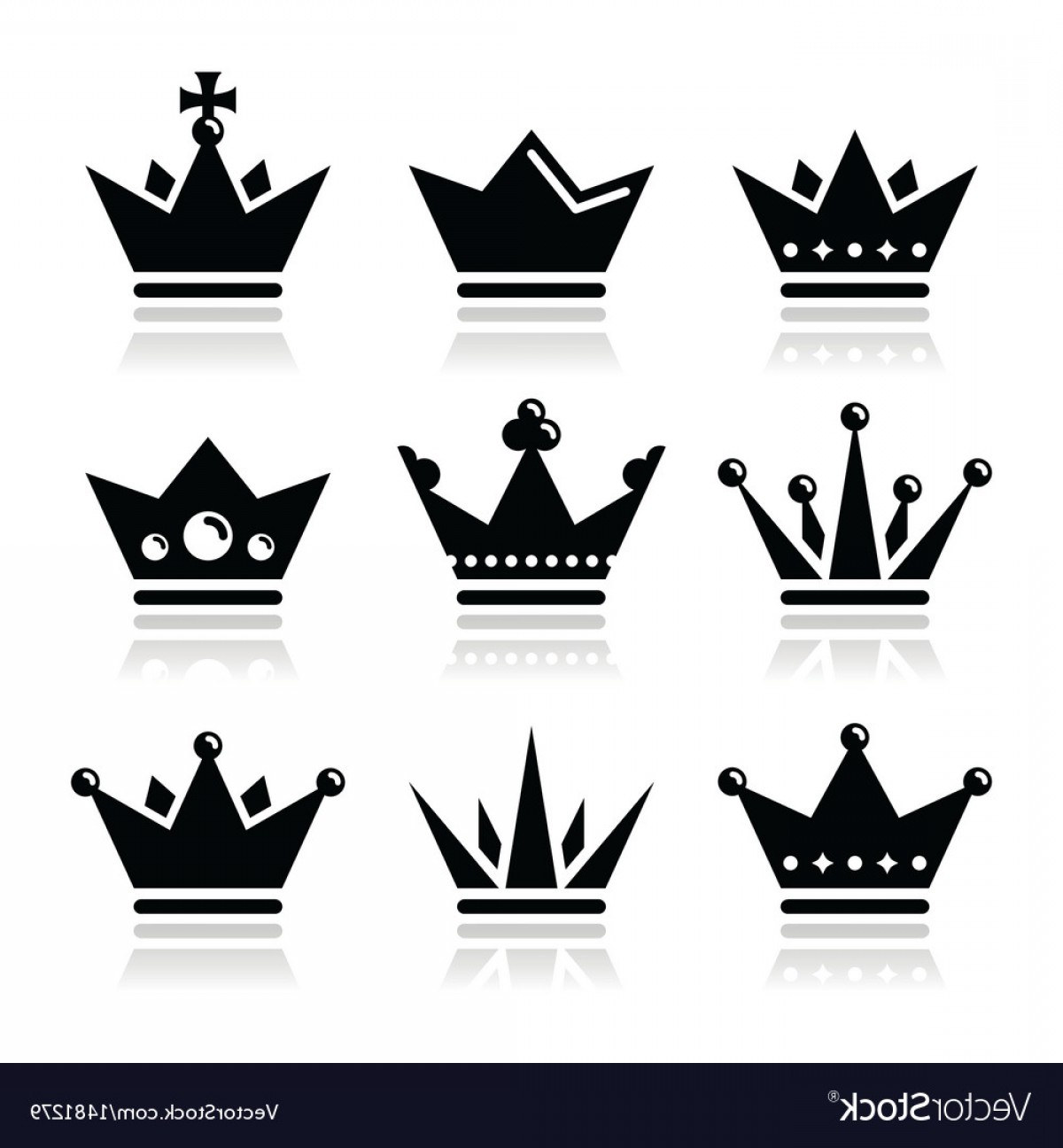 Baby Tiara Silhouette Vector: Crown Royal Family Icons Set Vector