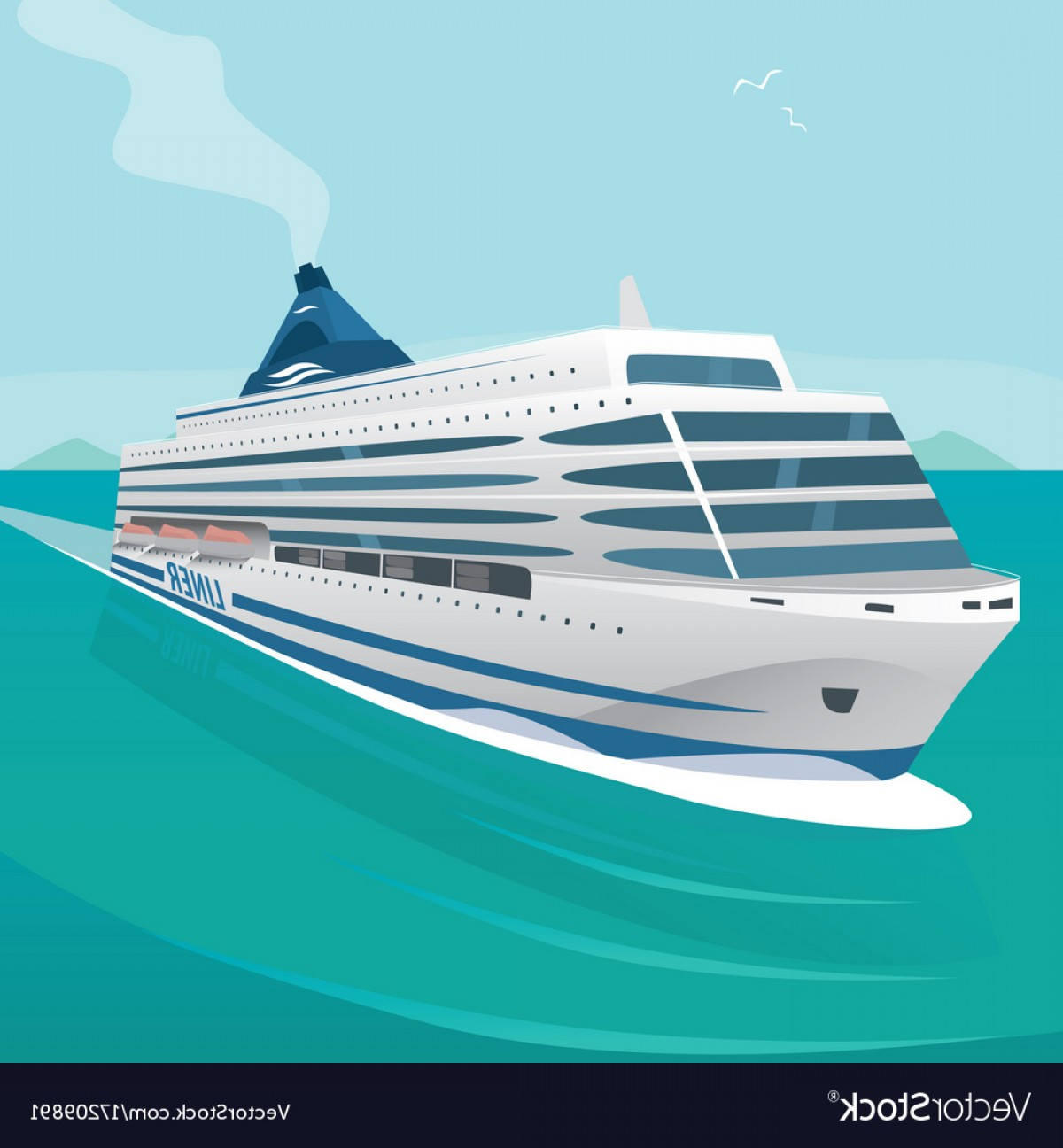Waves With Cruise Ship Silhouette Vector: Cruise Liner Cuts Through The Waves In Open Sea Vector
