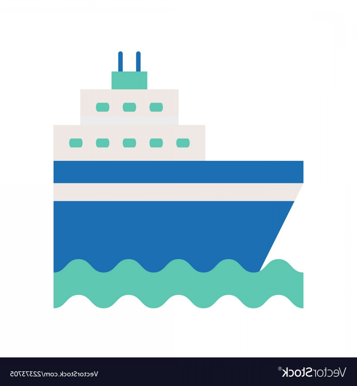 Waves With Cruise Ship Silhouette Vector: Cruise Ship On Sea Waves Flat Icon Vector