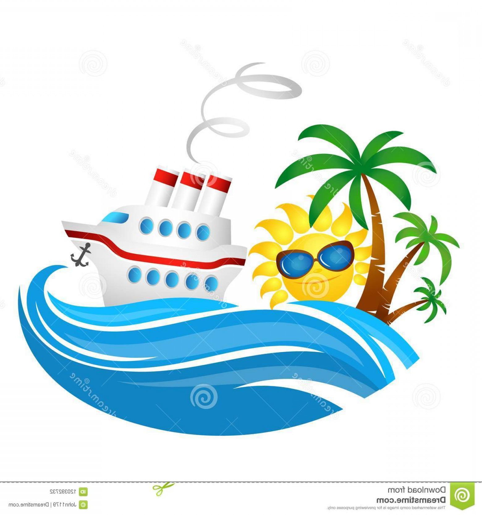 Waves With Cruise Ship Silhouette Vector: Cruise Ship Wave Sun Cruise Ship Wave Sun Illustration Travel Image