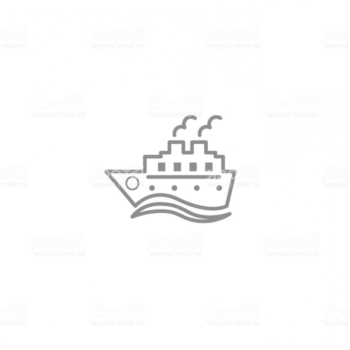 Waves With Cruise Ship Silhouette Vector: Cruise Ship With Waves Line Thin Simple Icon Trip Vacation Travel And Cargo Symbol Gm