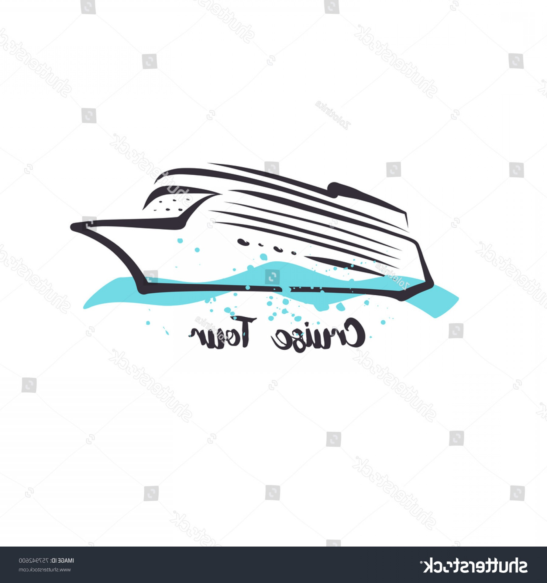 Waves With Cruise Ship Silhouette Vector: Cruise Tour Logo Template Logotype Travel