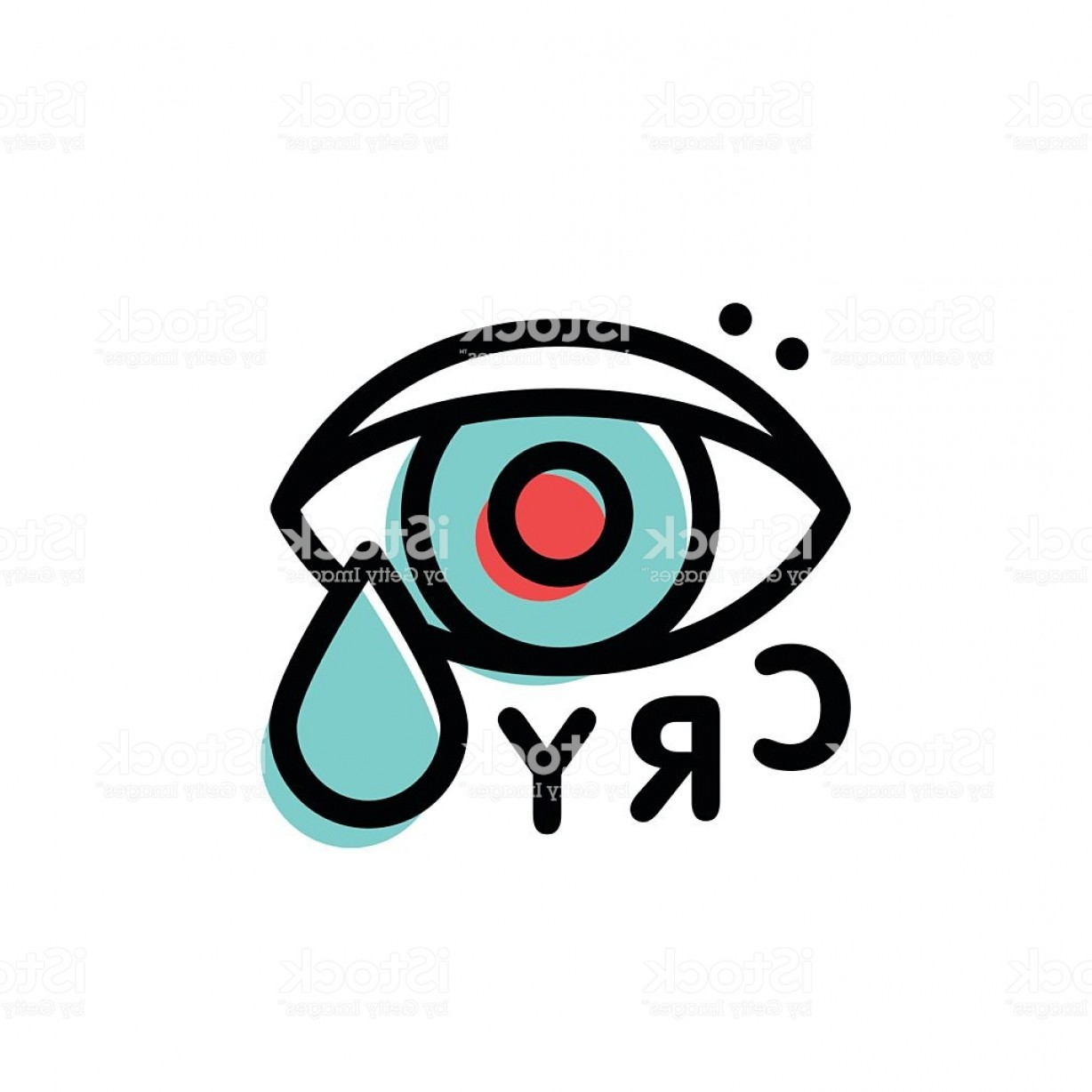 Eye Vector Logo: Crying Hipster Eye Vector Logo Template In Stroke Line Style Gm