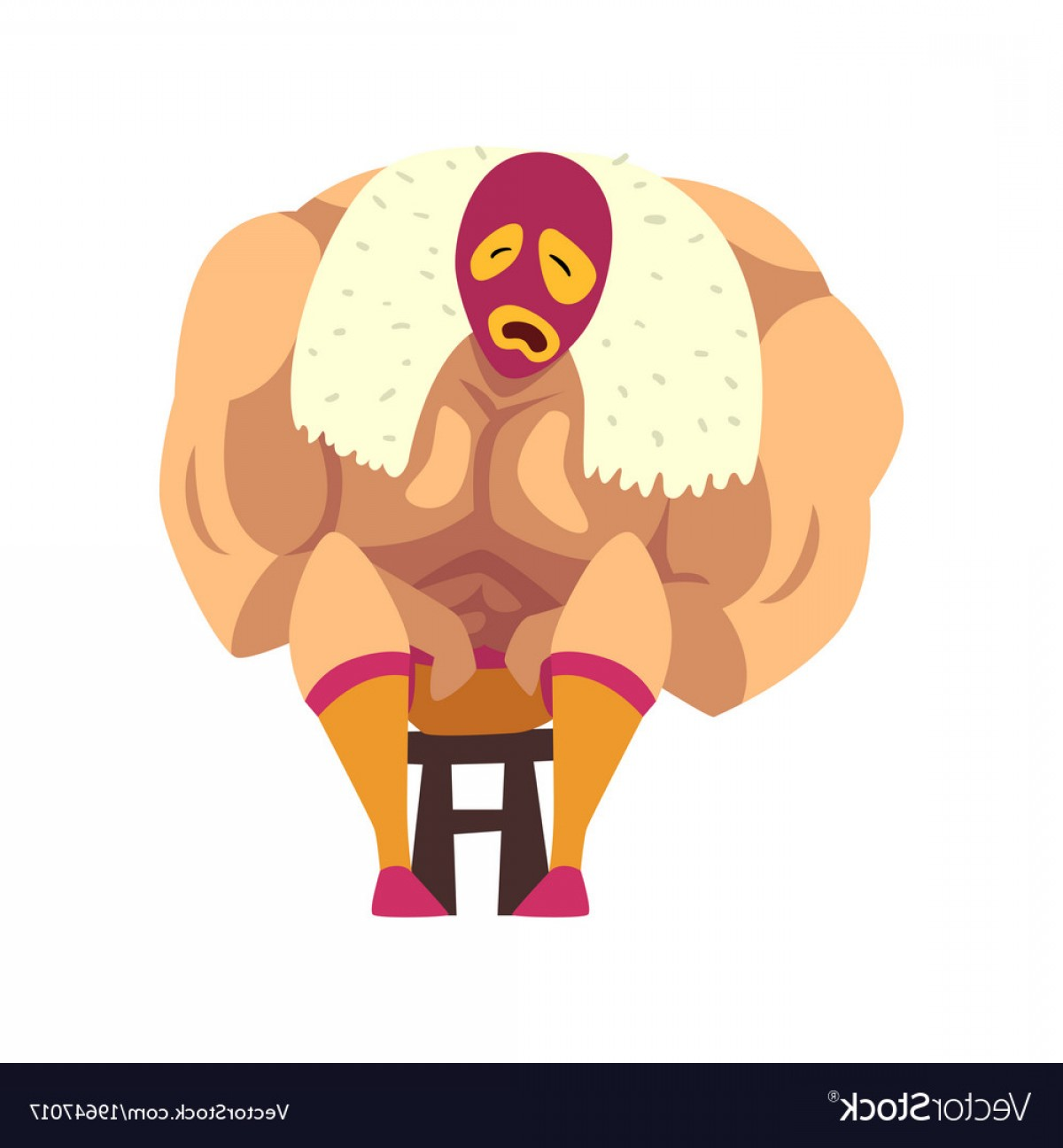 Vector Image Of Strong Wrestler: Crying Wrestler Sitting On Small Chair Strong Vector