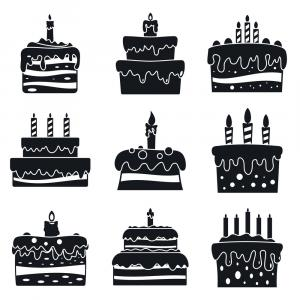 Simple Cake Vector: Cream Cake Birthday Icon Set Simple Style Vector