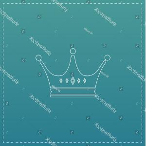 Crown White Outline Vector: Crown Simple Line Vector Button Thin
