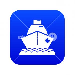 Waves With Cruise Ship Silhouette Vector: Cruise Ship Icon Blue Vector Isolated On White Background Rllyvknbcjuiuyi