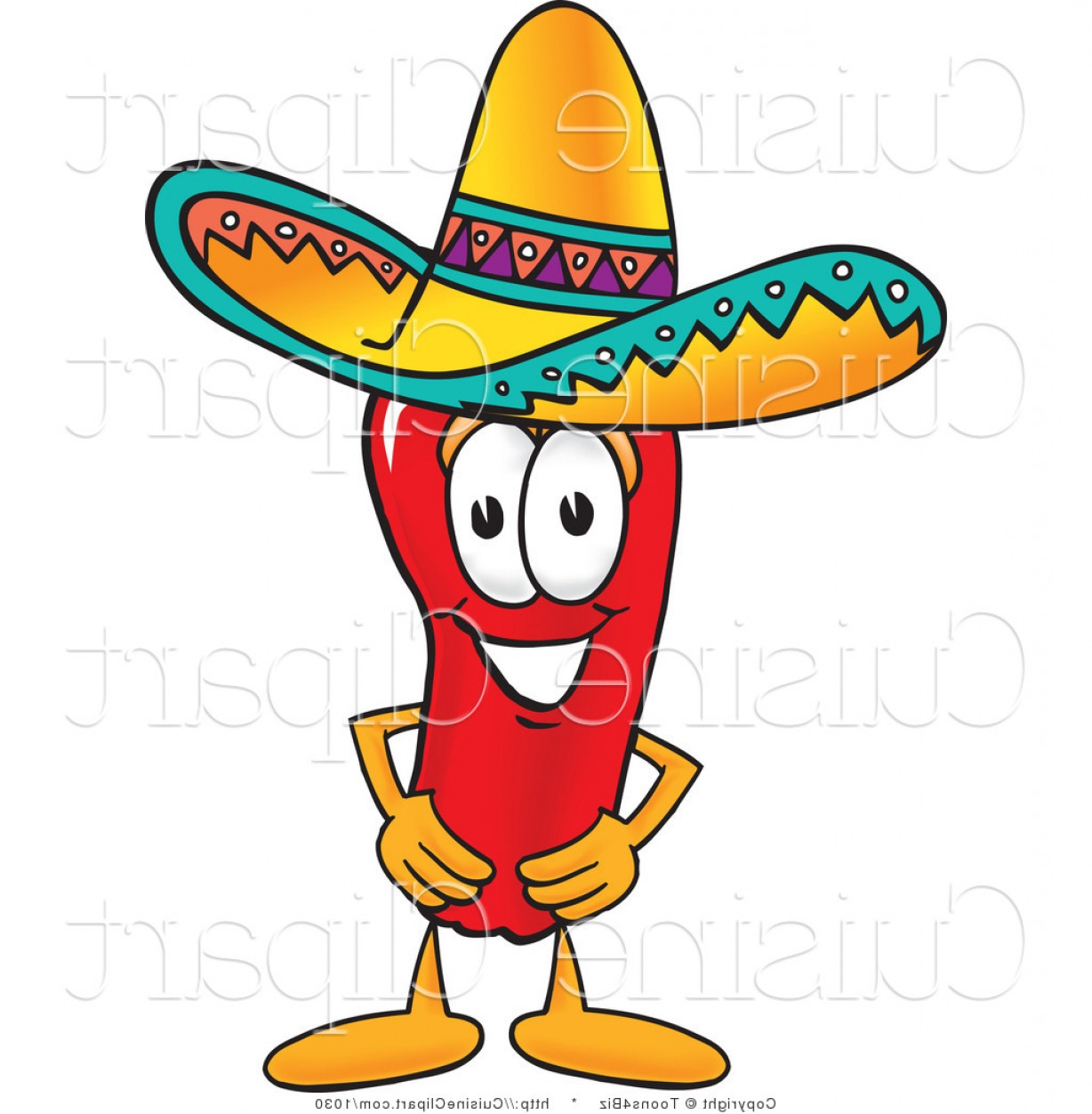 Vector Mexican Chili: Cuisine Clipart Of A Mexican Chili Pepper Wearing A Sombrero Hat By Toonsbiz