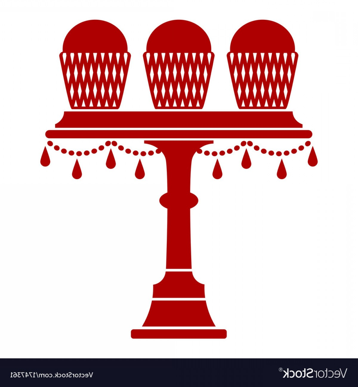 Cake Stand Vector: Cup Cake Stand With Drops Vector