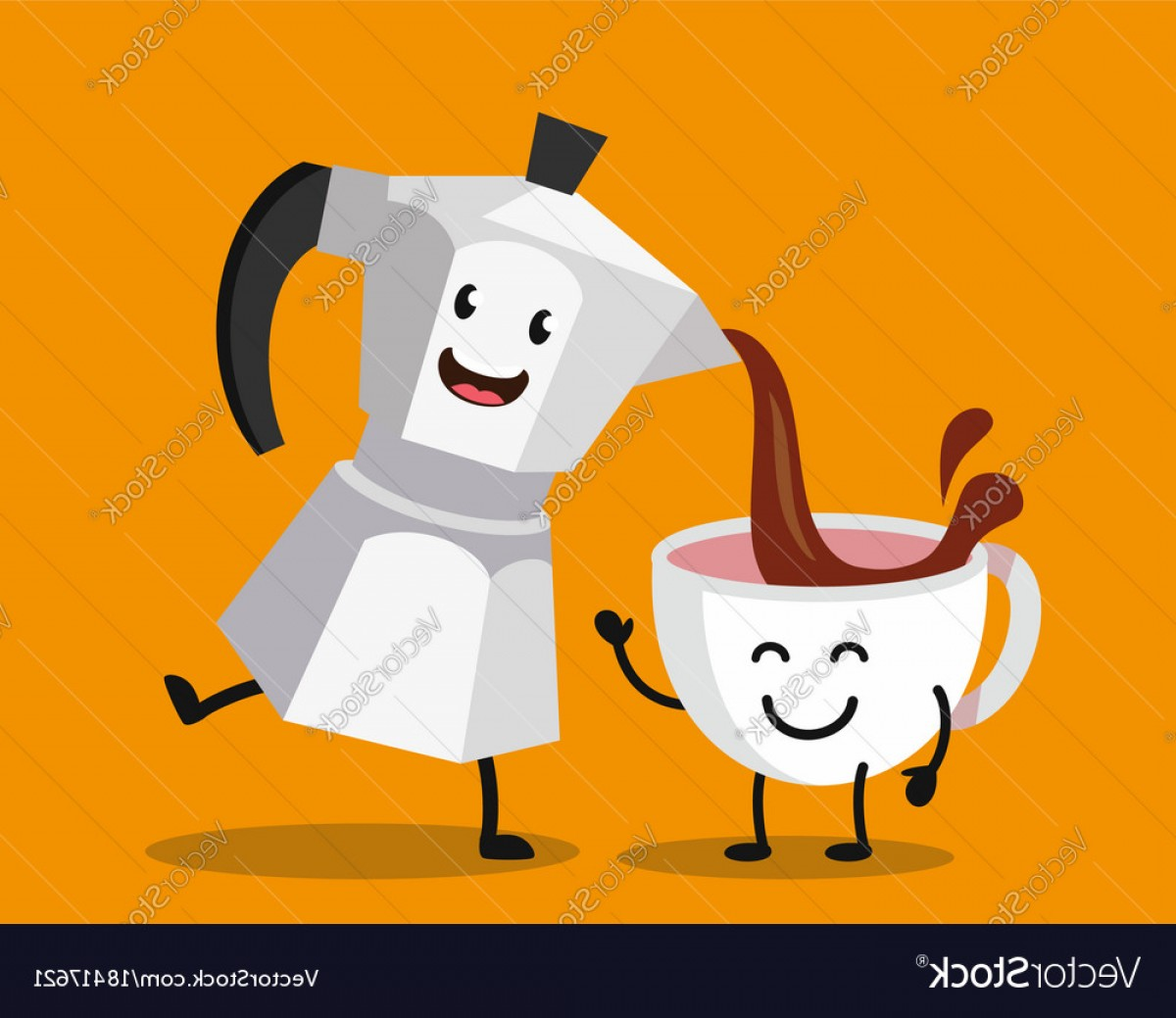 Vector Maker: Cup Of Coffee And Italian Maker Pot Vector