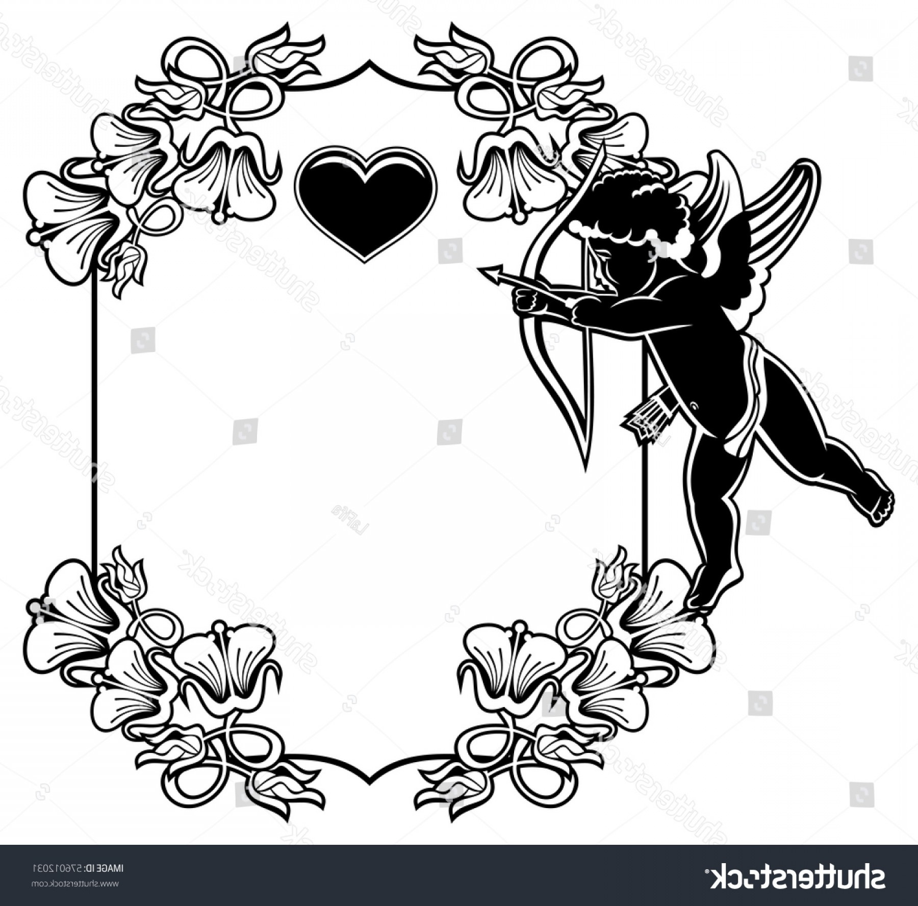 Hunting Heart Vector: Cupid Bow Hunting Hearts Black White